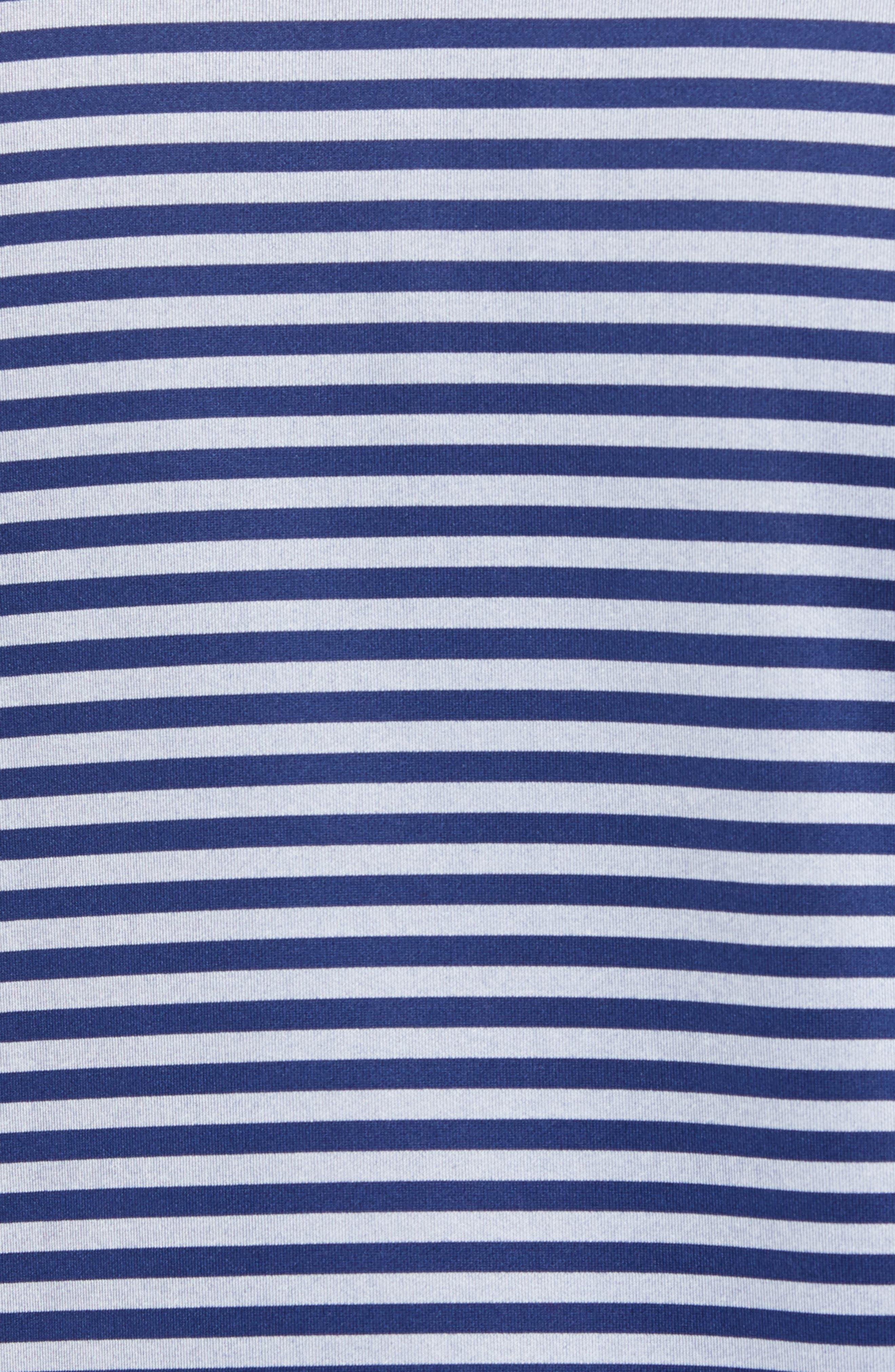 Regular Fit Stripe Quarter Zip Pullover,                             Alternate thumbnail 5, color,                             NAVY