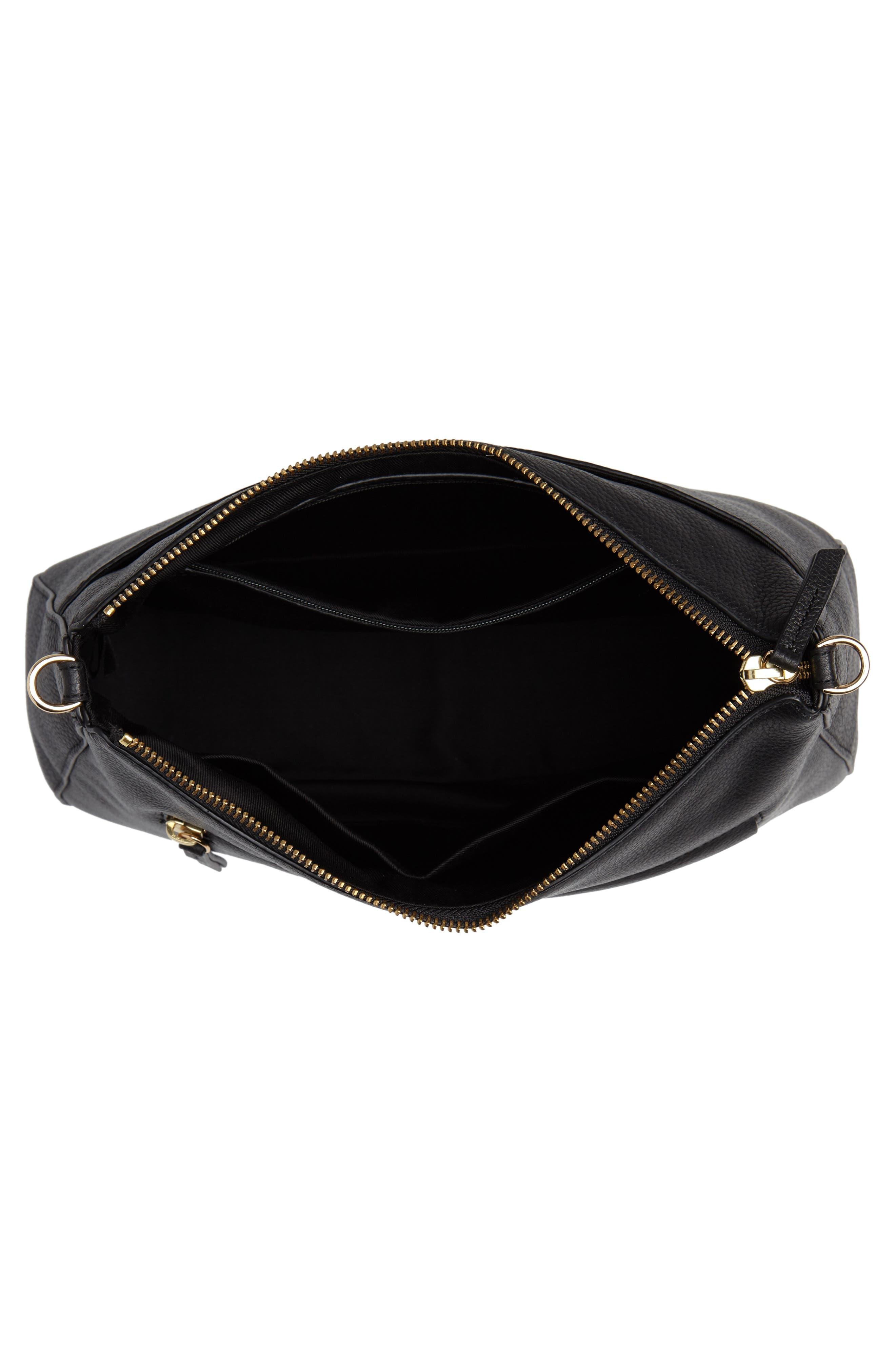 Finn Convertible Leather Hobo,                             Alternate thumbnail 5, color,                             BLACK