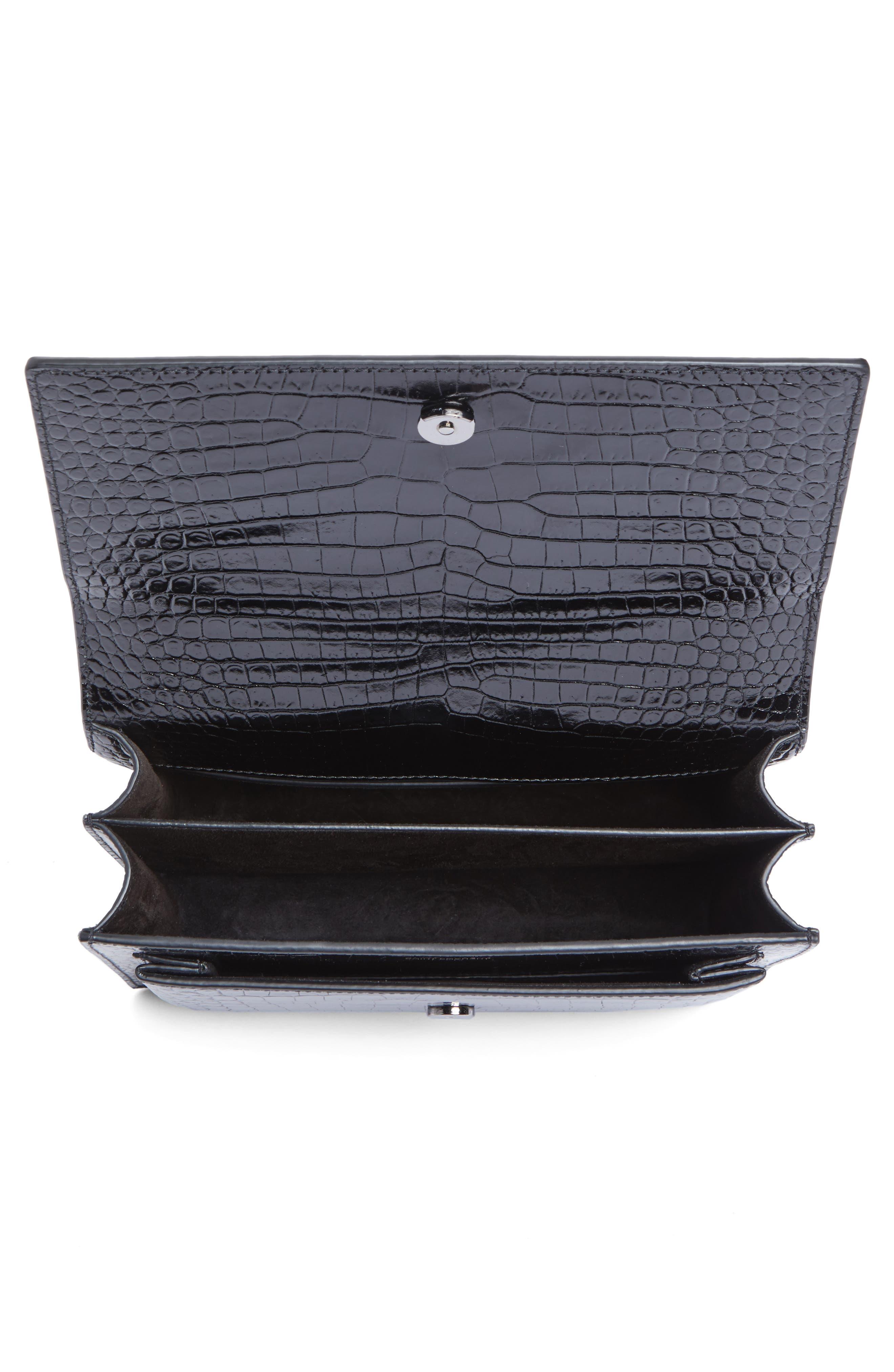 Medium Sunset Croc Embossed Leather Shoulder Bag,                             Alternate thumbnail 4, color,                             001