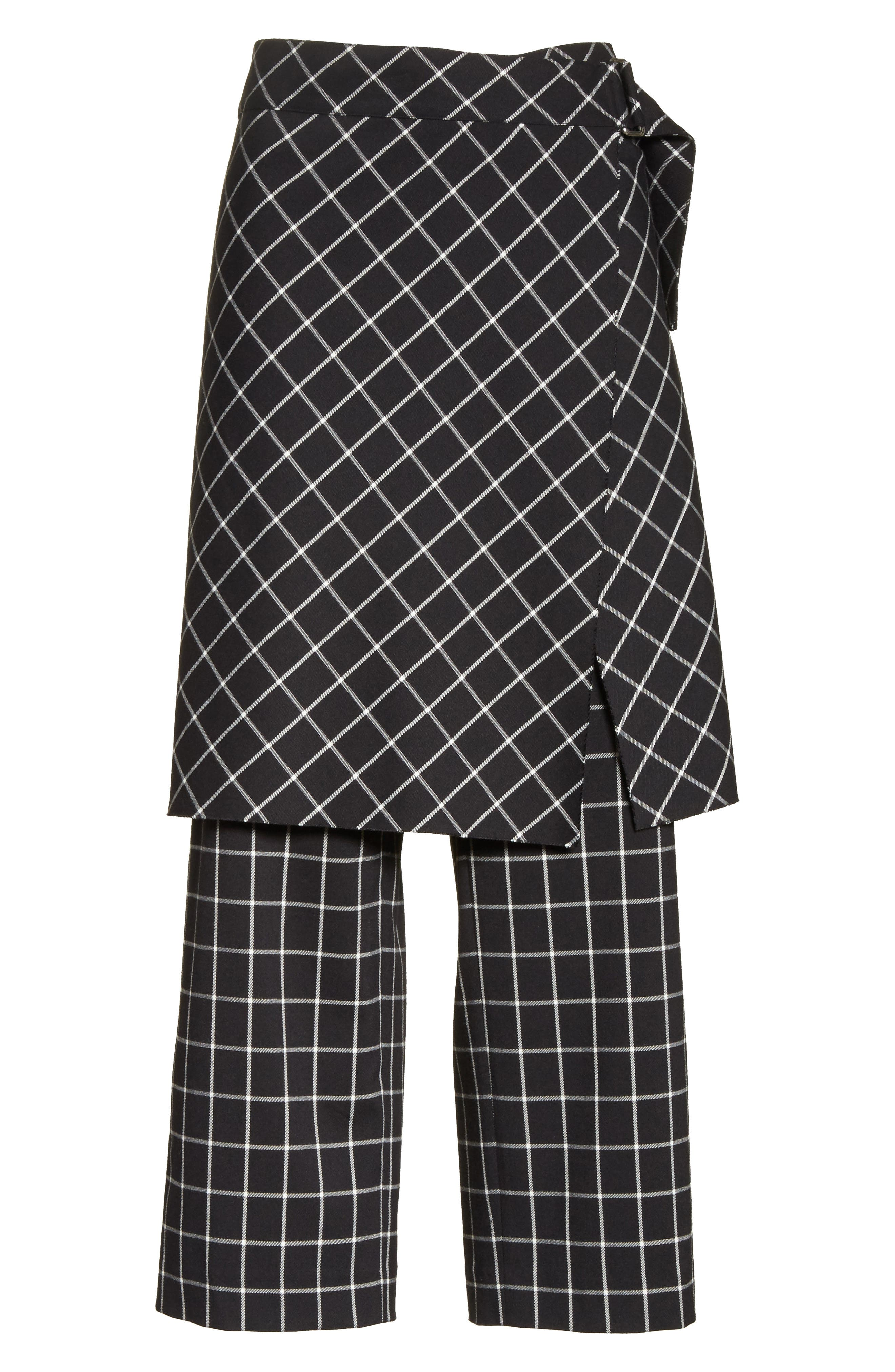 Grid Print Skirted Pants,                             Alternate thumbnail 6, color,