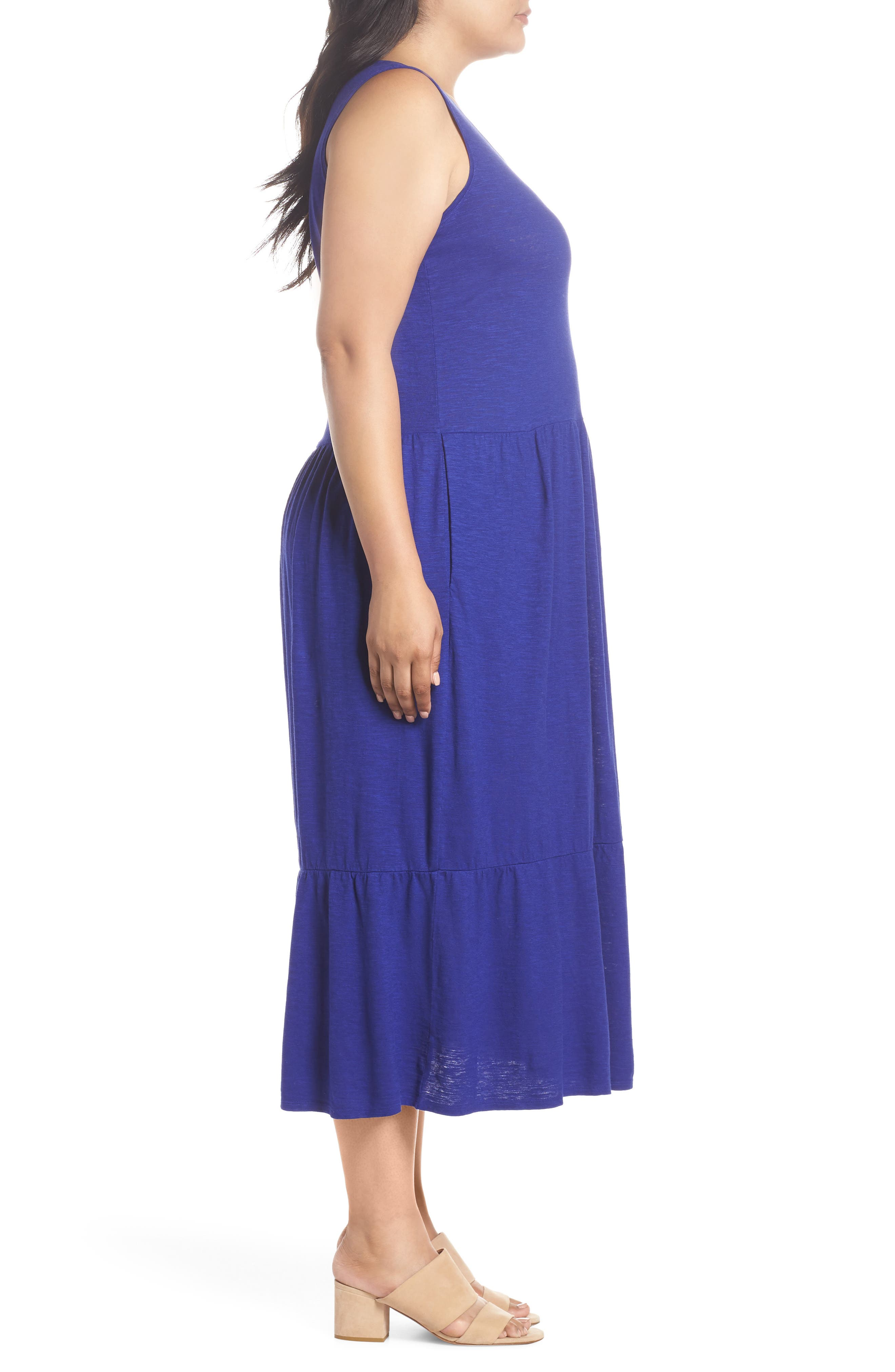 Scooped Neck Hemp & Cotton Midi Dress,                             Alternate thumbnail 3, color,                             BLUE VIOLET