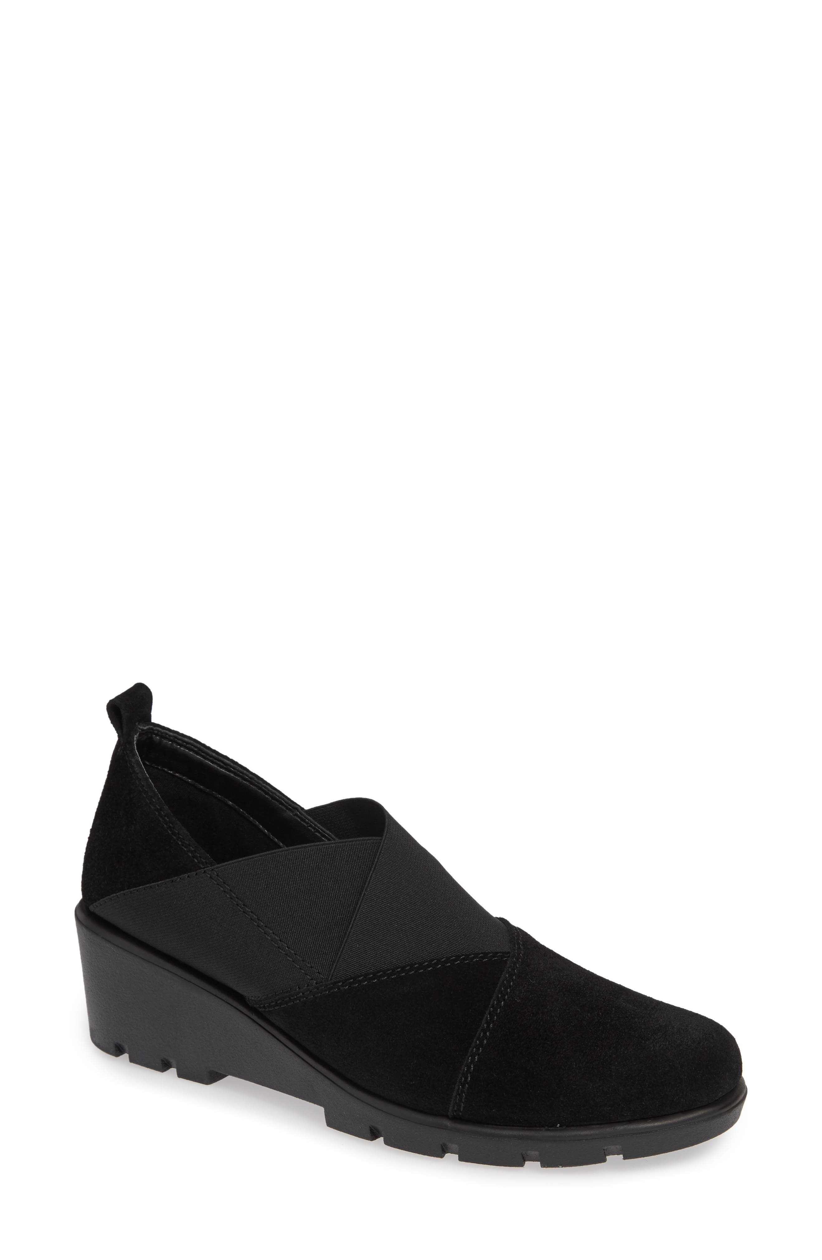 Crosstown Slip-On Shoe,                         Main,                         color, BLACK SUEDE