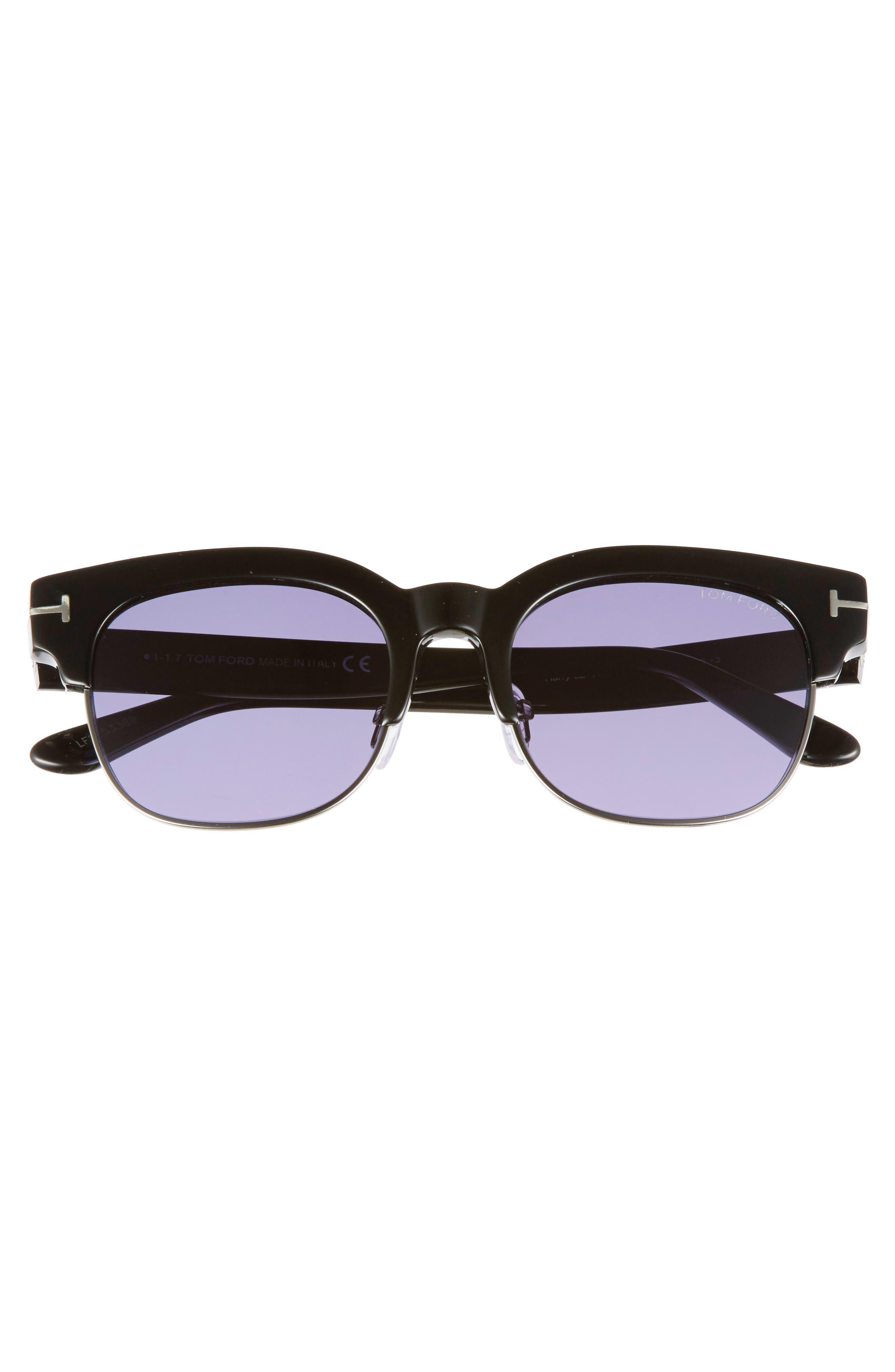 Harry 53mm Half-Rim Sunglasses,                             Alternate thumbnail 3, color,                             BLACK/ DARK RUTHENIUM/ BLUE