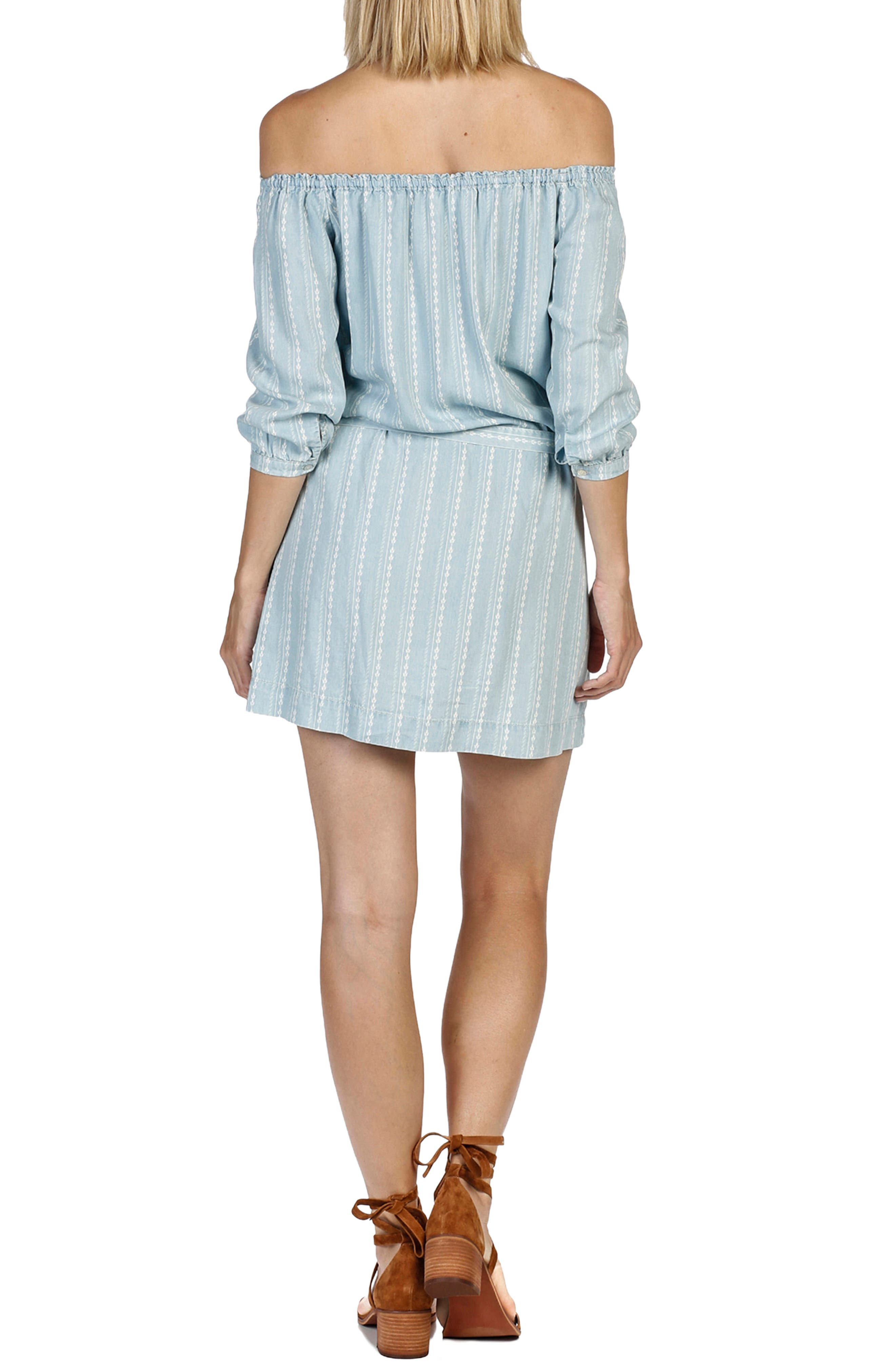 Beatrice Chambray Off the Shoulder Dress,                             Alternate thumbnail 2, color,                             400