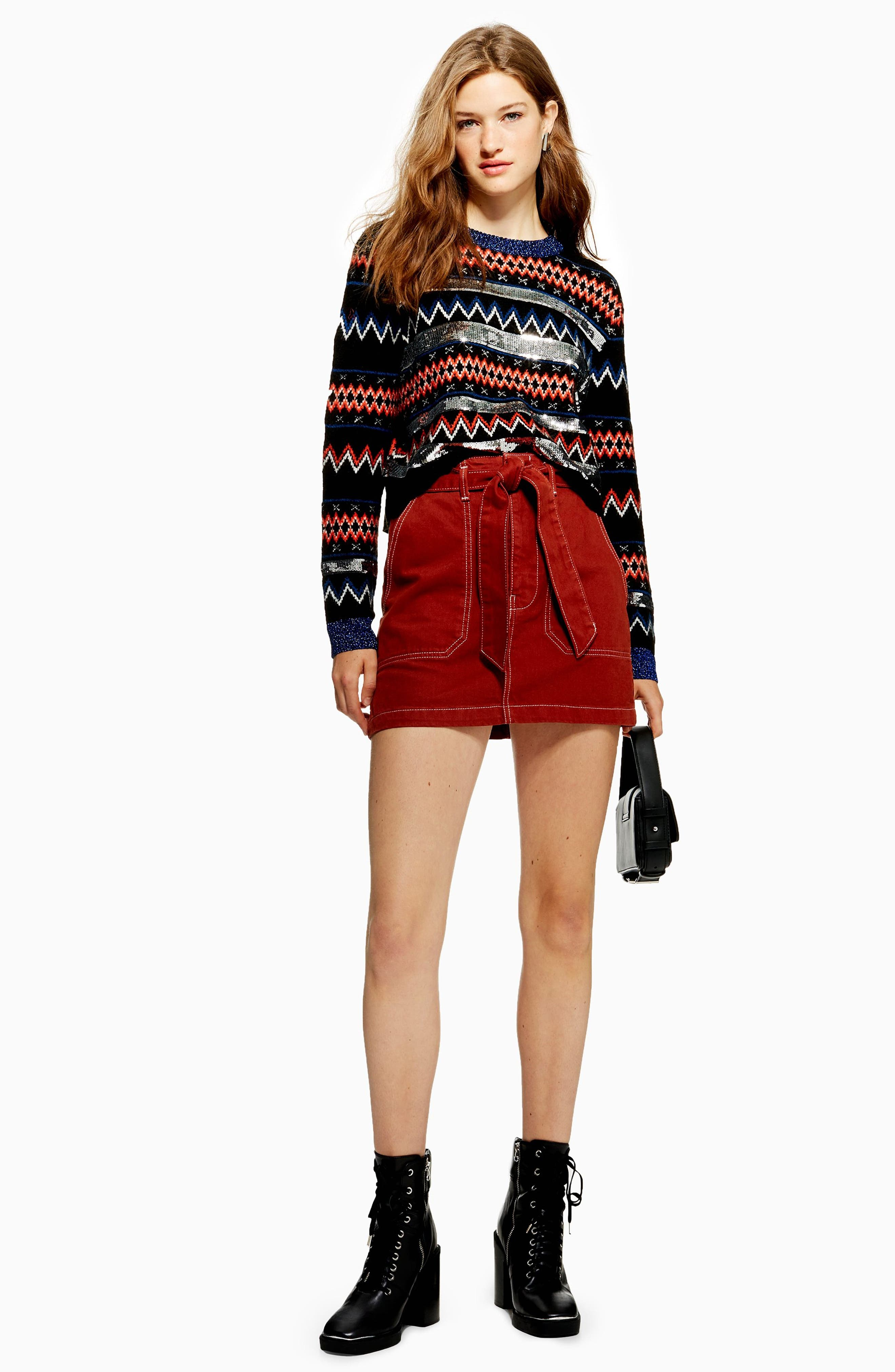 Sequin Stripe Fair Isle Sweater,                             Alternate thumbnail 4, color,                             BLACK MULTI