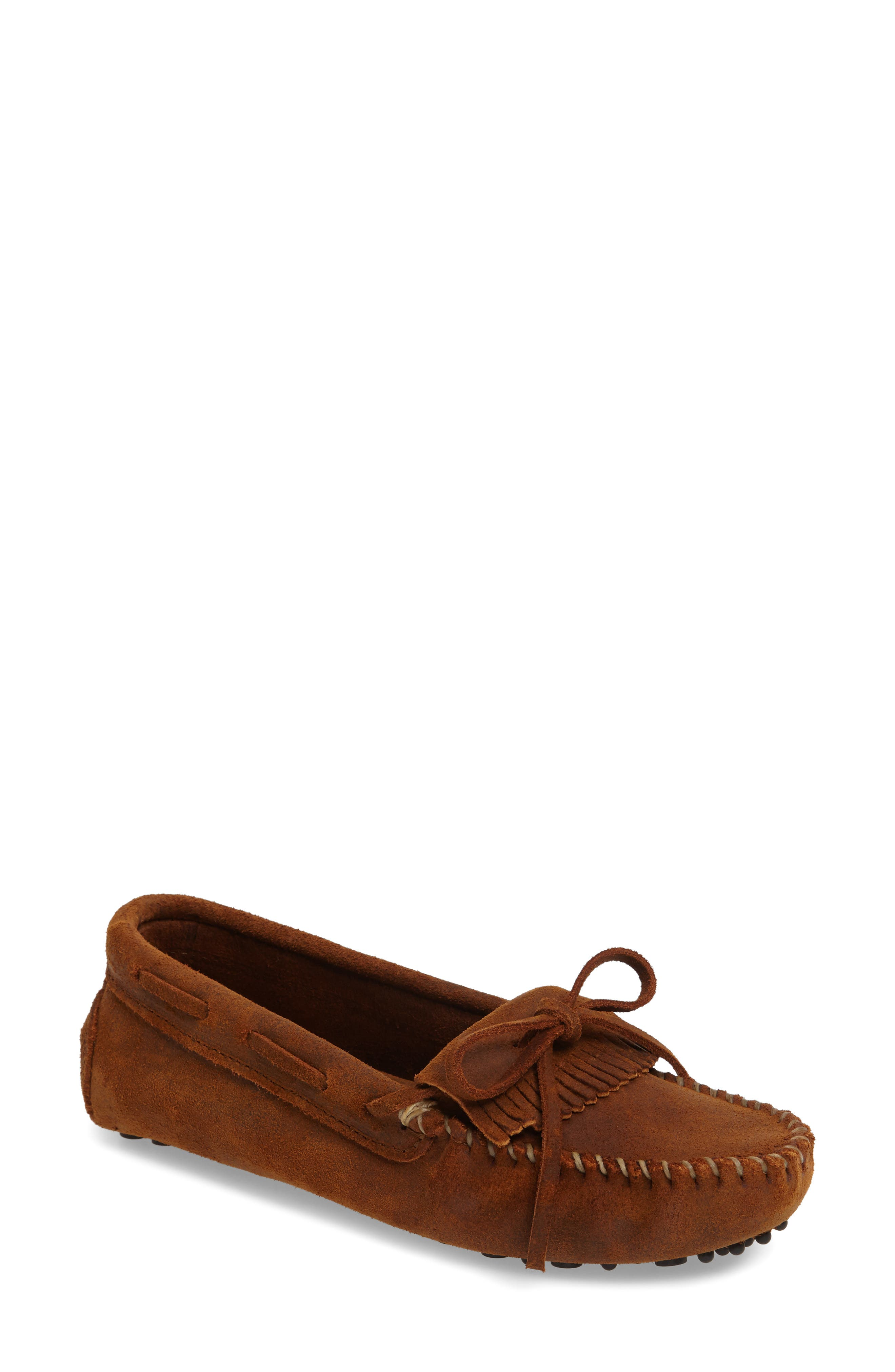 Kilty Driving Moccasin,                             Main thumbnail 1, color,                             BROWN RUFF