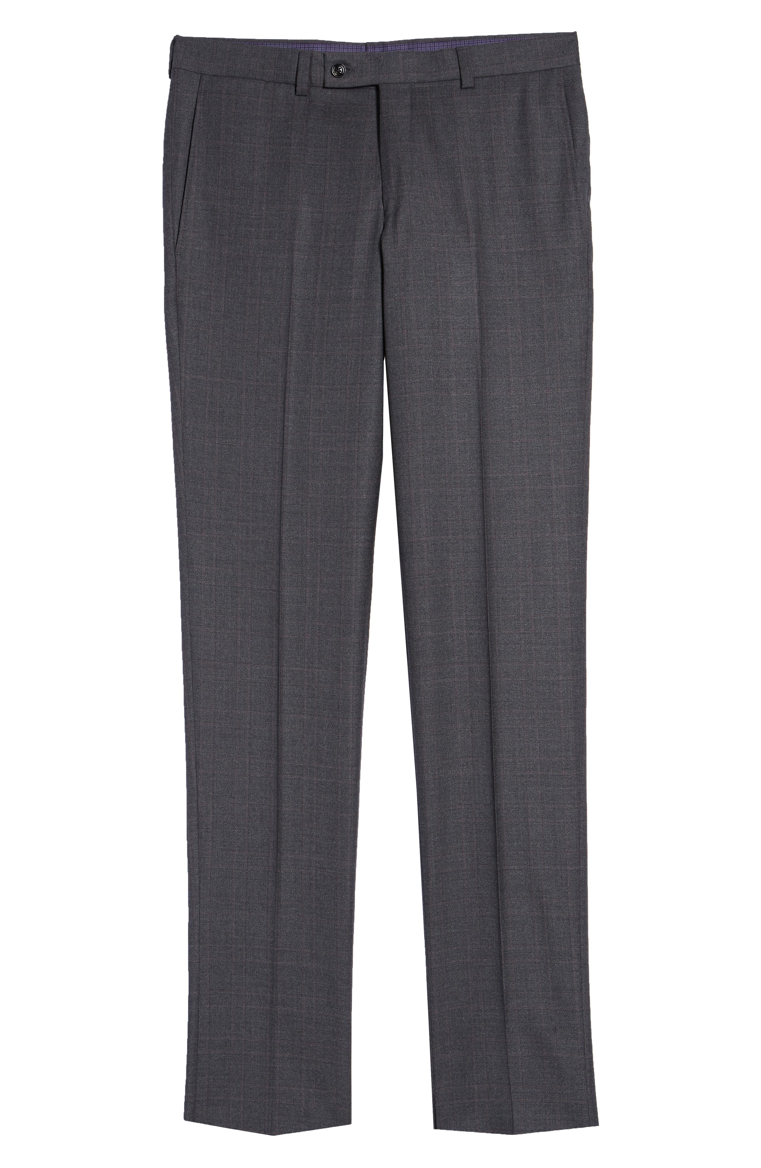 Jefferson Flat Front Plaid Wool Trousers,                             Alternate thumbnail 6, color,                             GREY