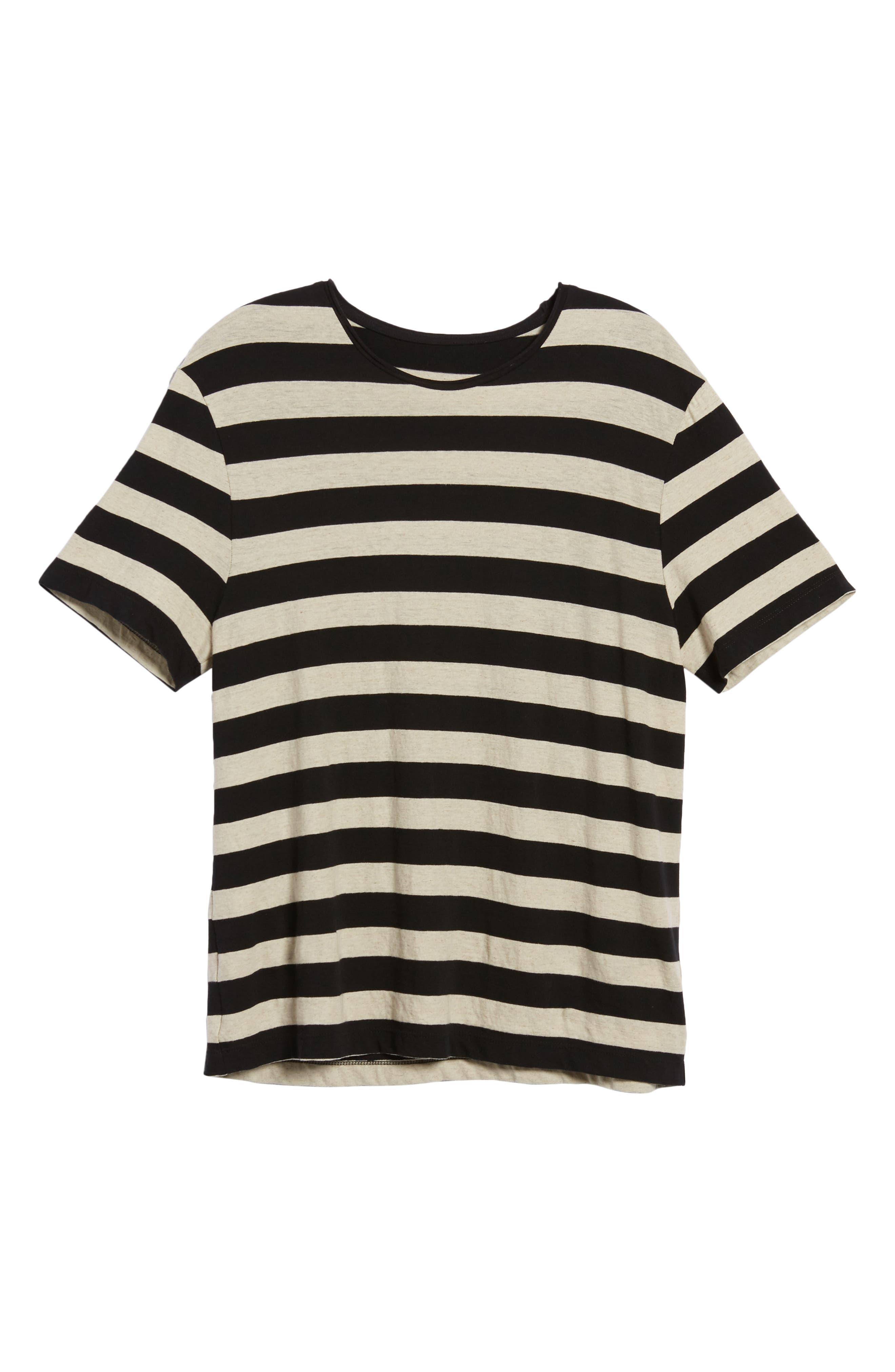 Stripe Regular Fit Shirt,                             Alternate thumbnail 6, color,                             LINEN/ BLACK