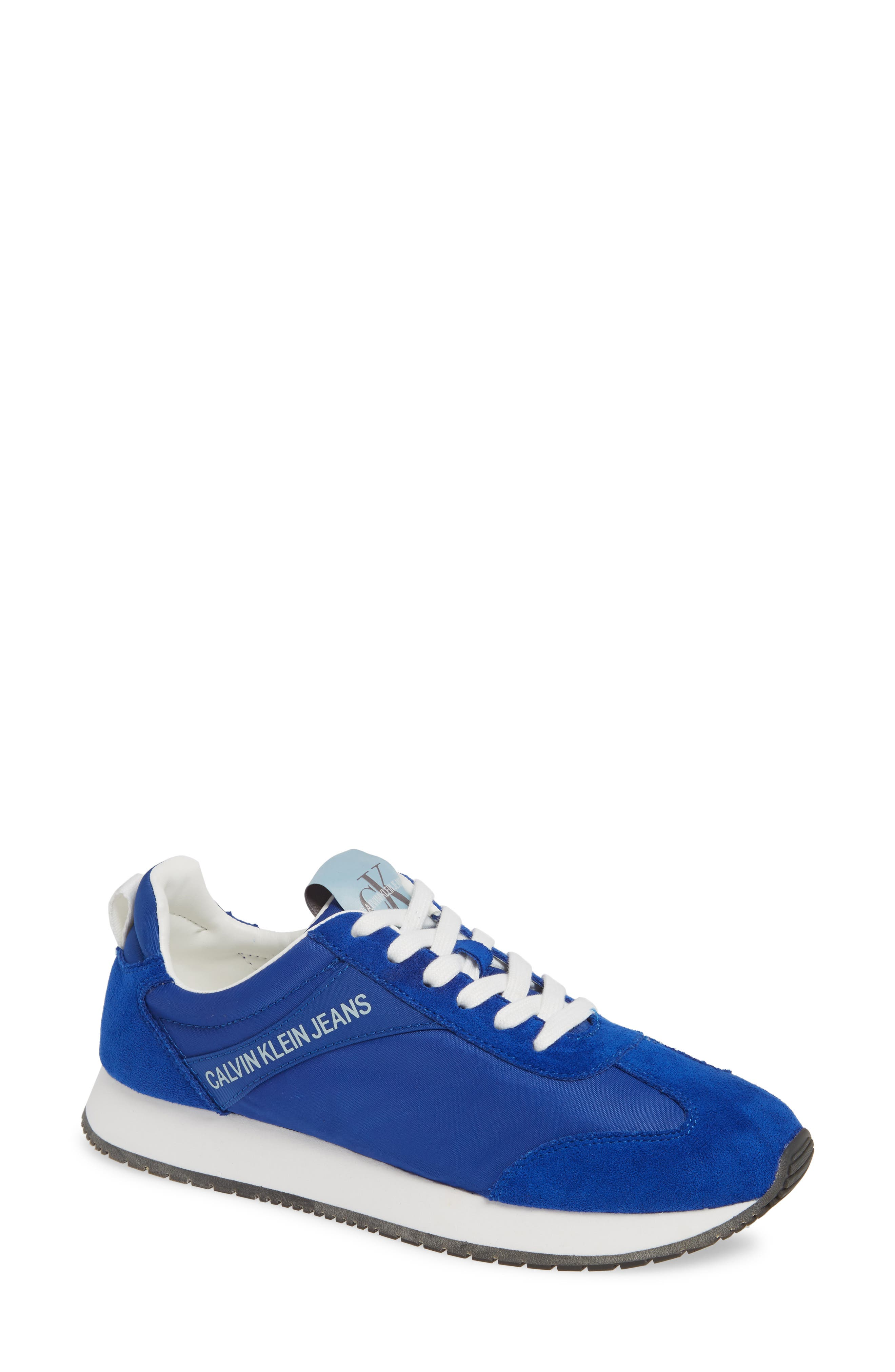 Jill Lace-Up Sneaker in Nautical Blue Nylon/ Suede