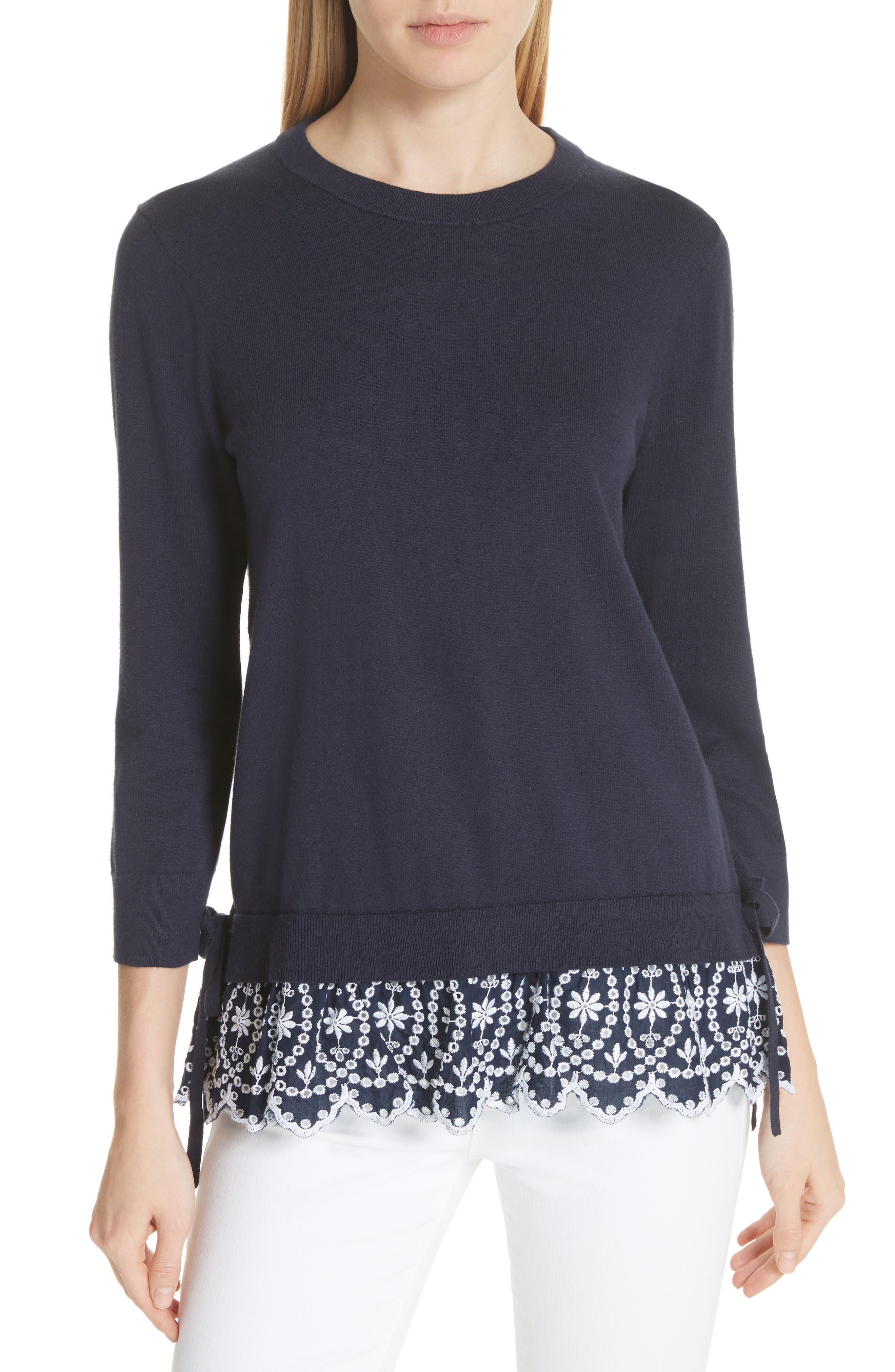 KATE SPADE NEW YORK eyelet hem sweater, Main, color, 473