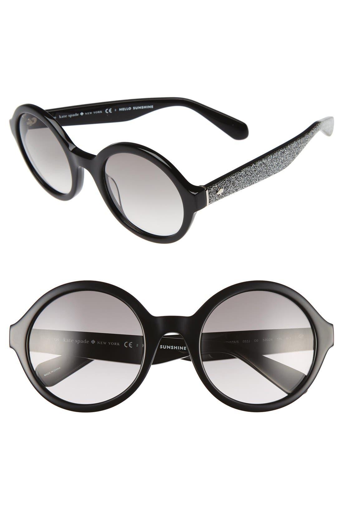 'khriss' 52mm round sunglasses,                             Main thumbnail 1, color,                             001