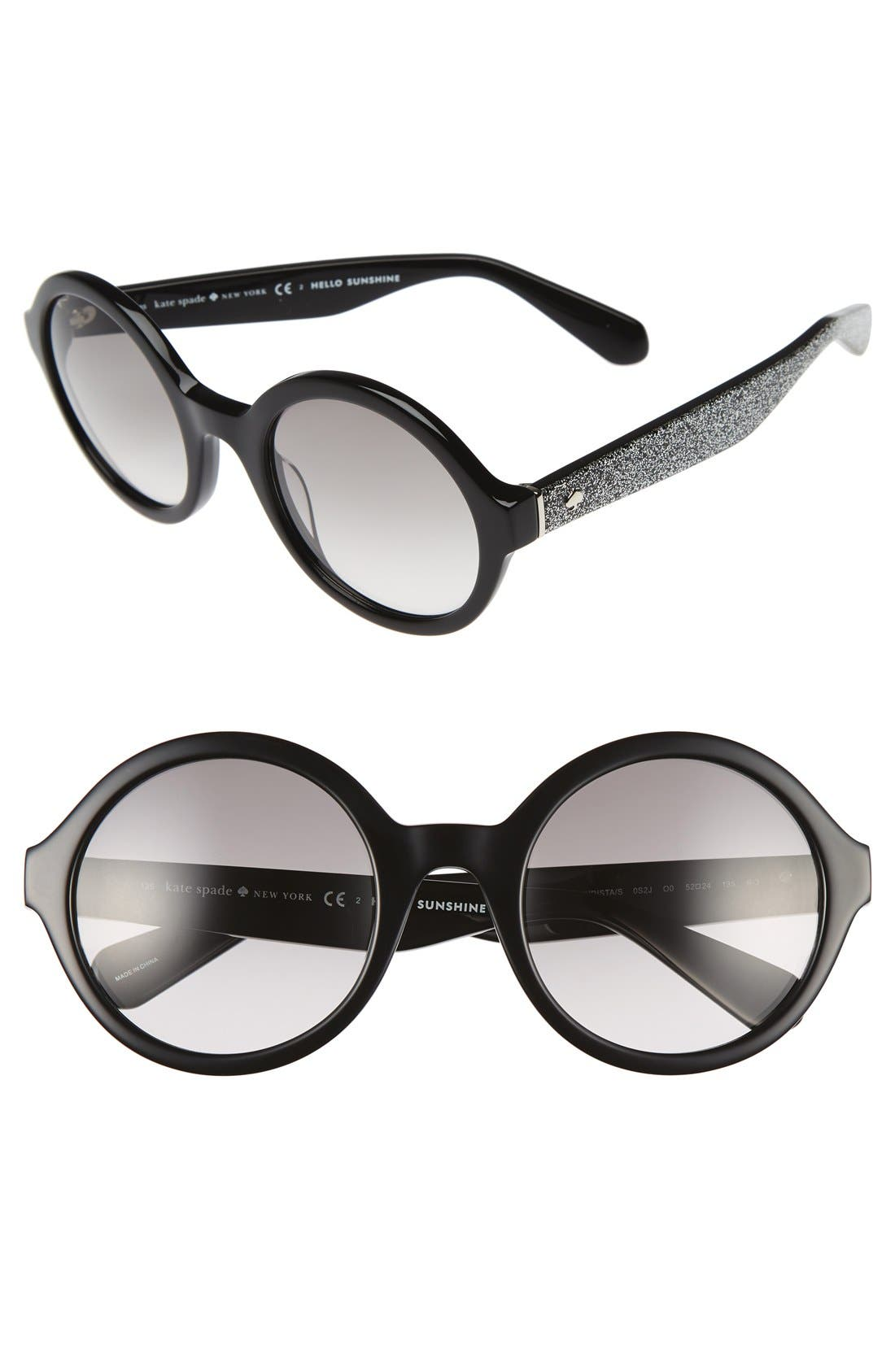 'khriss' 52mm round sunglasses,                         Main,                         color, 001