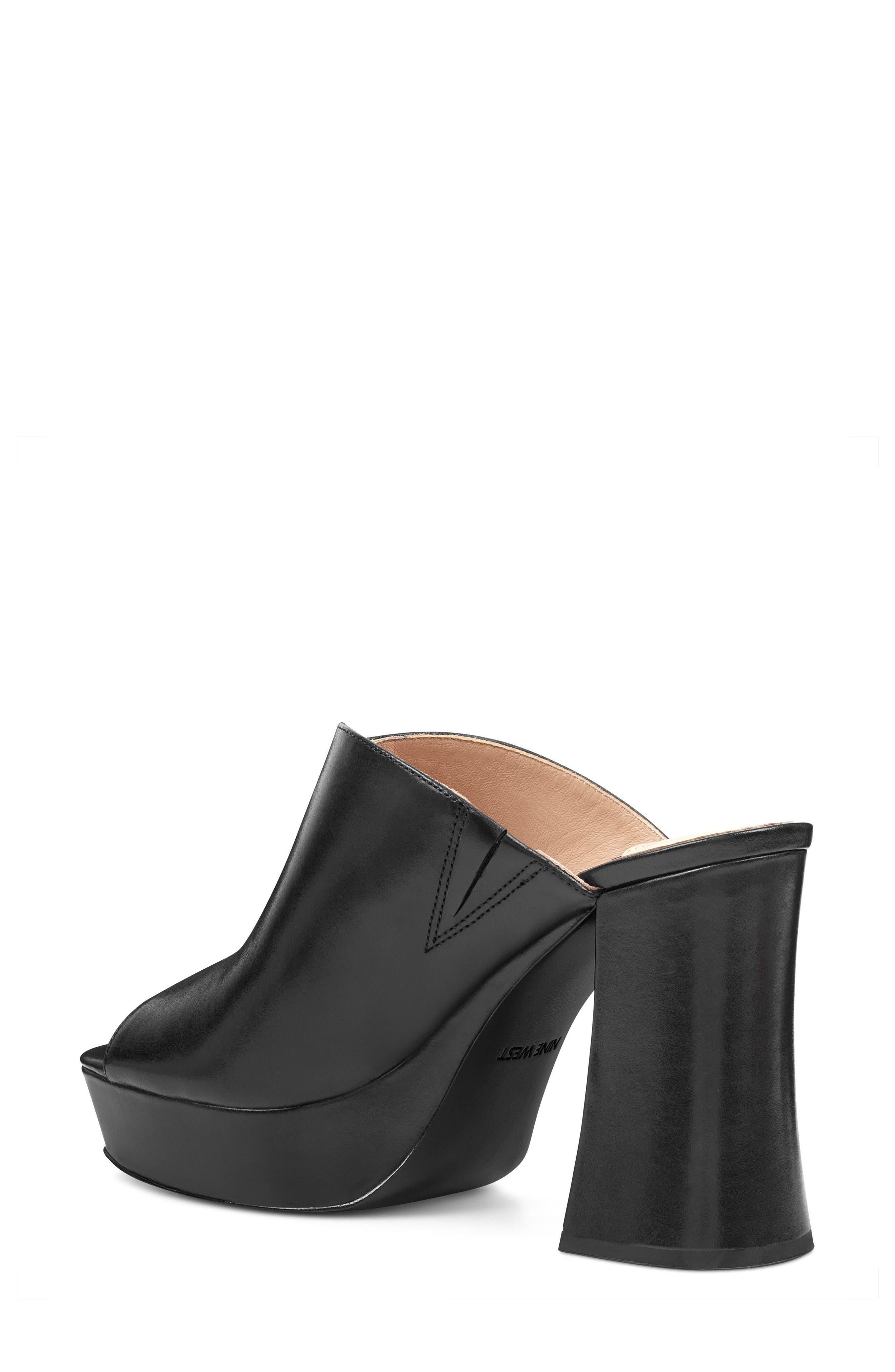 Lisana - 40th Anniversary Capsule Collection Platform Slide Sandal,                             Alternate thumbnail 2, color,                             BLACK LEATHER