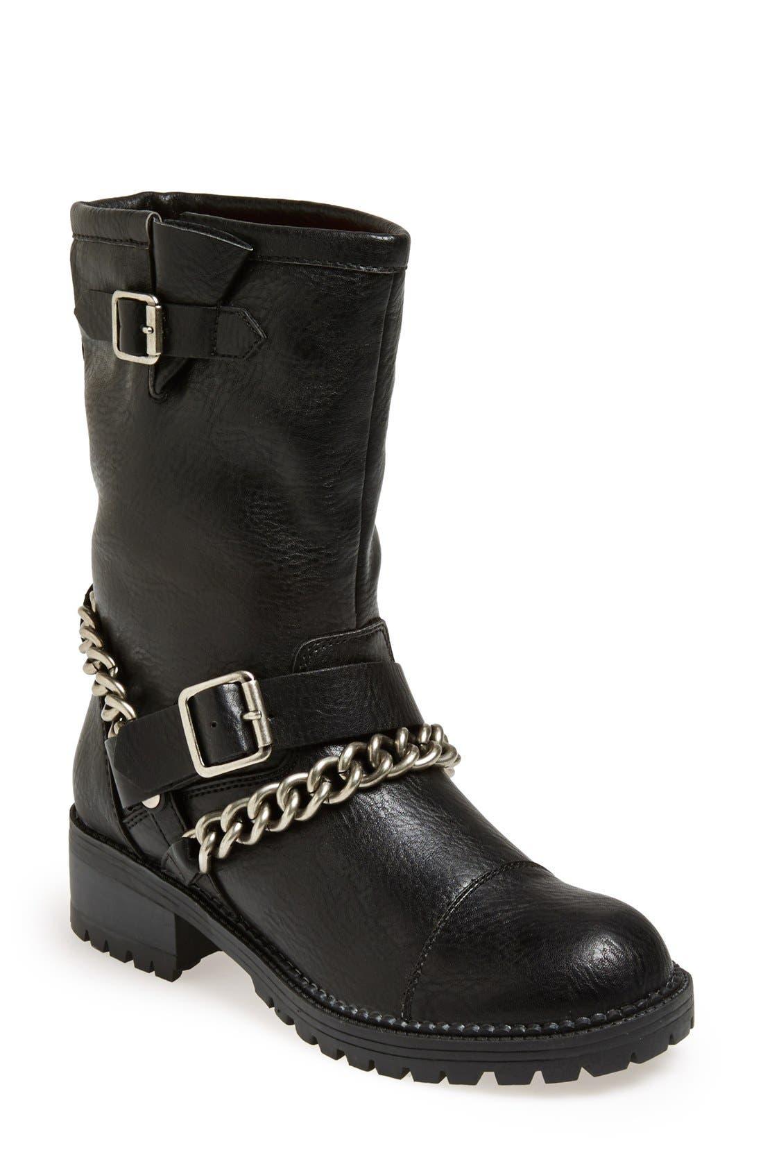 KENDALL + KYLIE Madden Girl 'Bedforrd' Chain Wrapped Biker Bootie, Main, color, 003