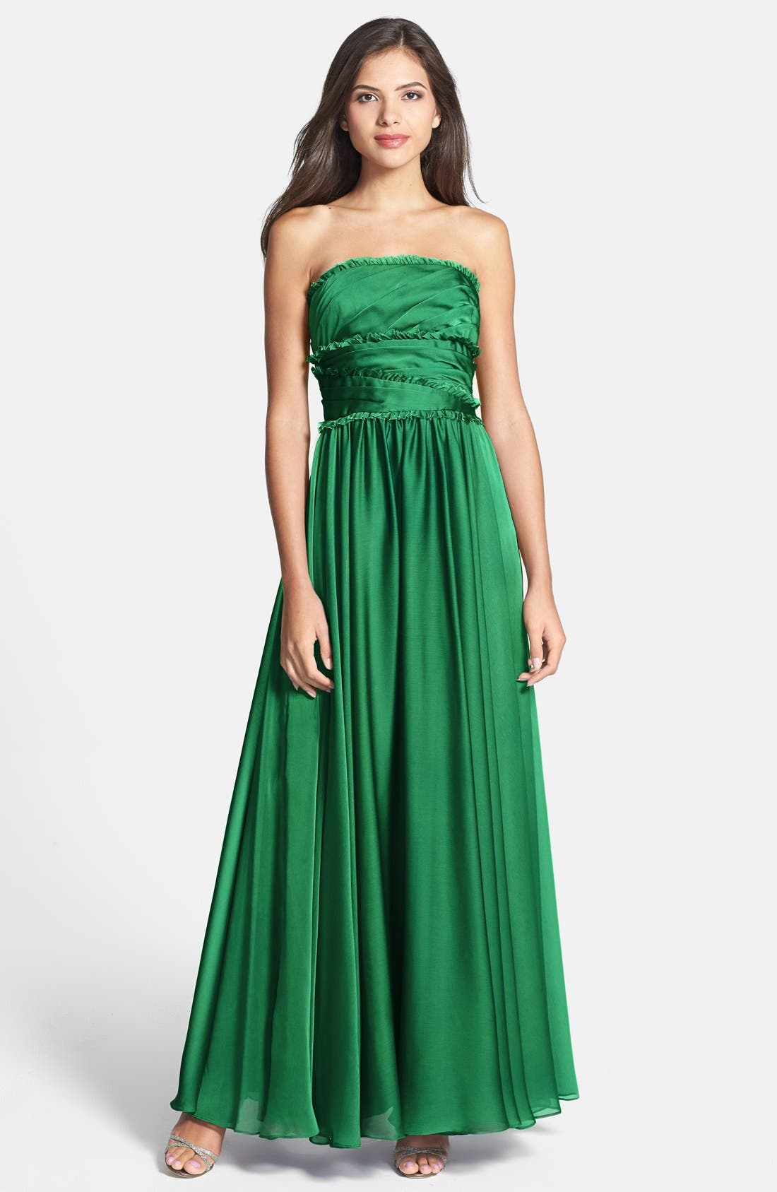 ML Monique Lhuillier Bridesmaids Strapless Chiffon Gown,                             Main thumbnail 8, color,