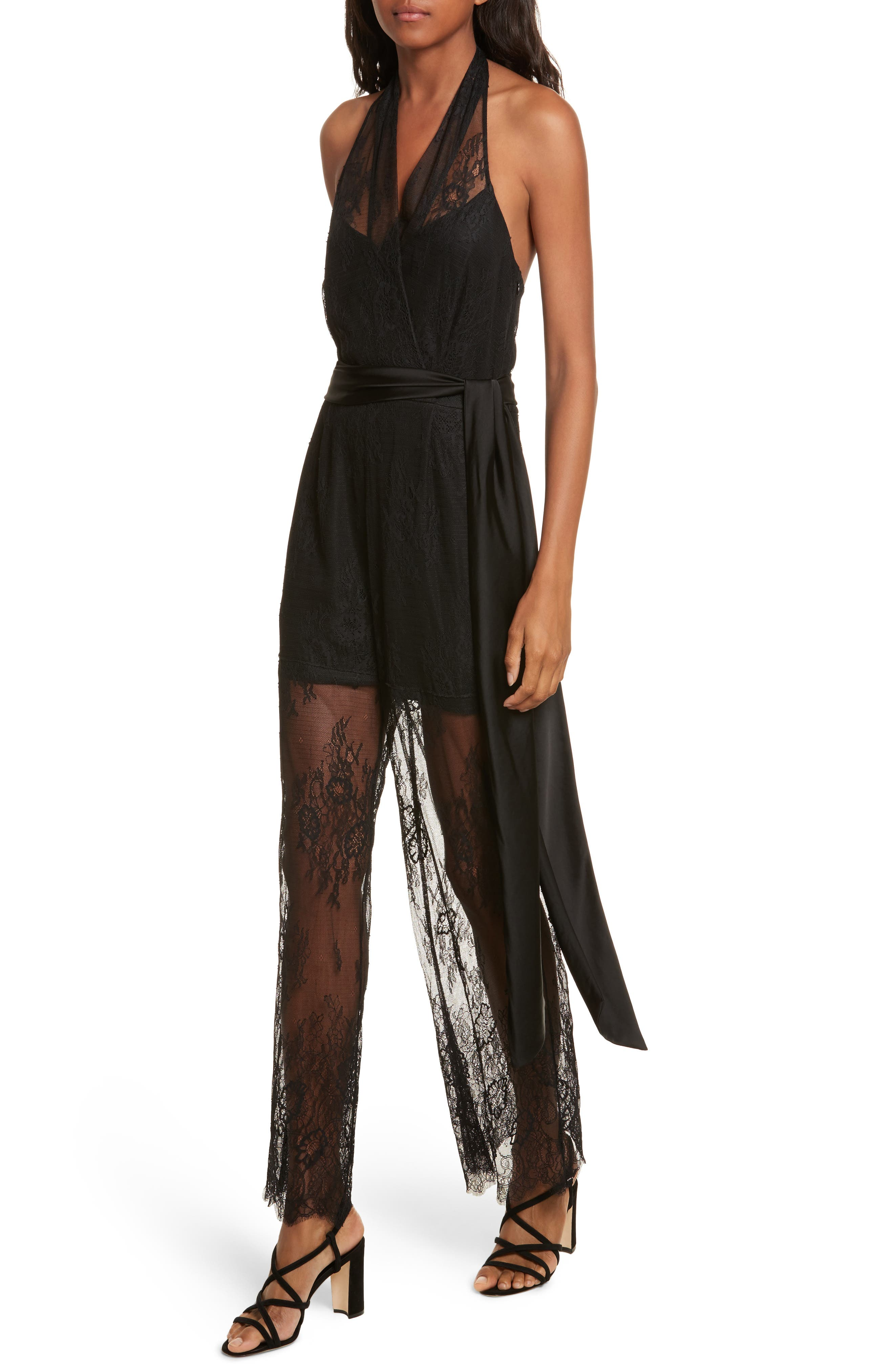 Diane von Furstenberg Halter Neck Lace Jumpsuit,                             Alternate thumbnail 4, color,                             001