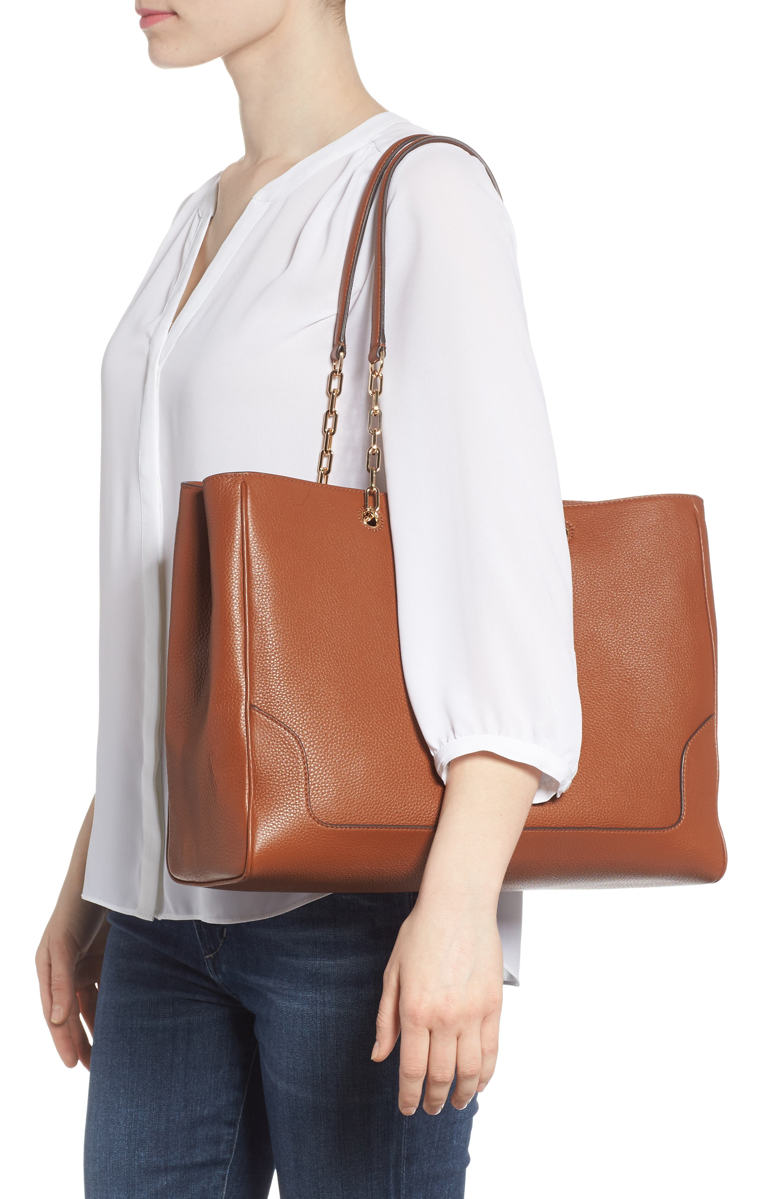 Marsden Pebbled Leather Tote,                             Alternate thumbnail 5, color,