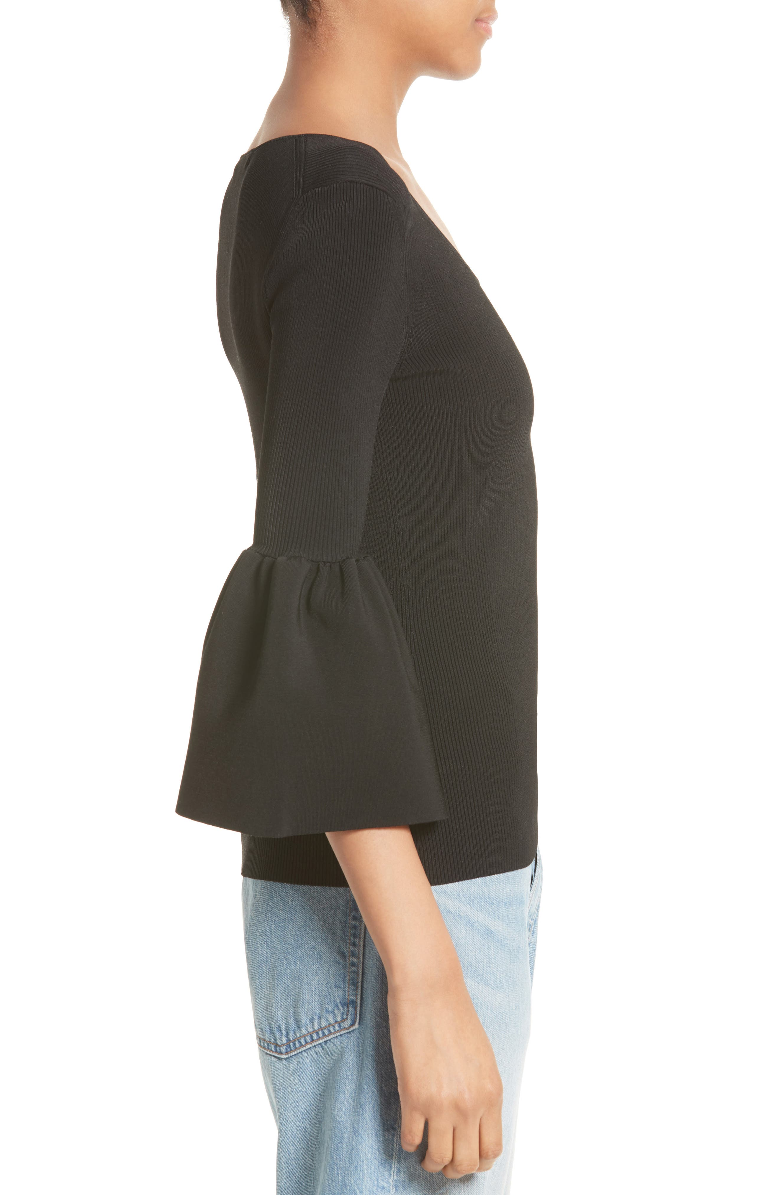 Willow Bell Sleeve Top,                             Alternate thumbnail 3, color,                             001
