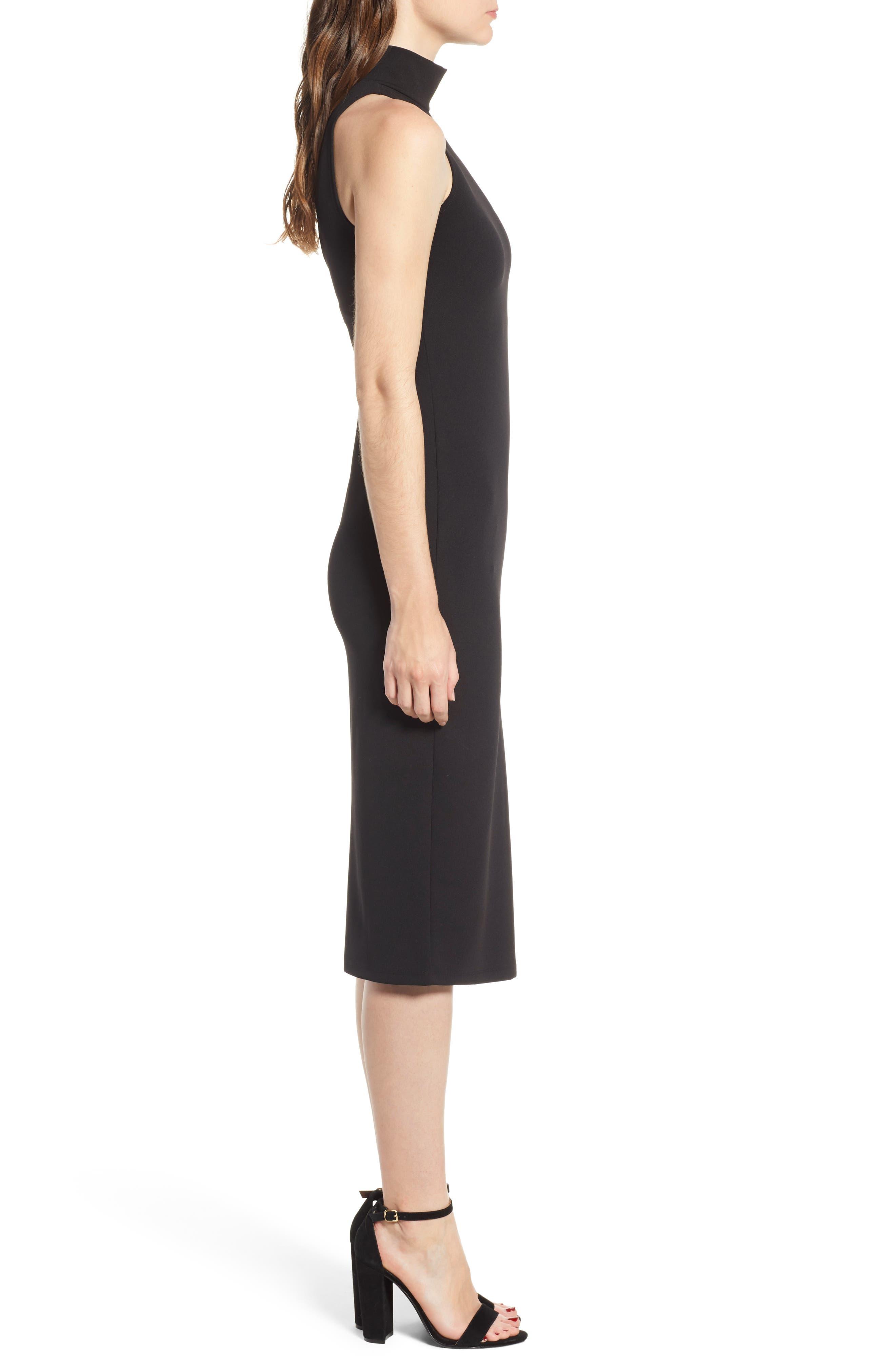 Mock Neck Body-Con Dress,                             Alternate thumbnail 3, color,                             BLACK