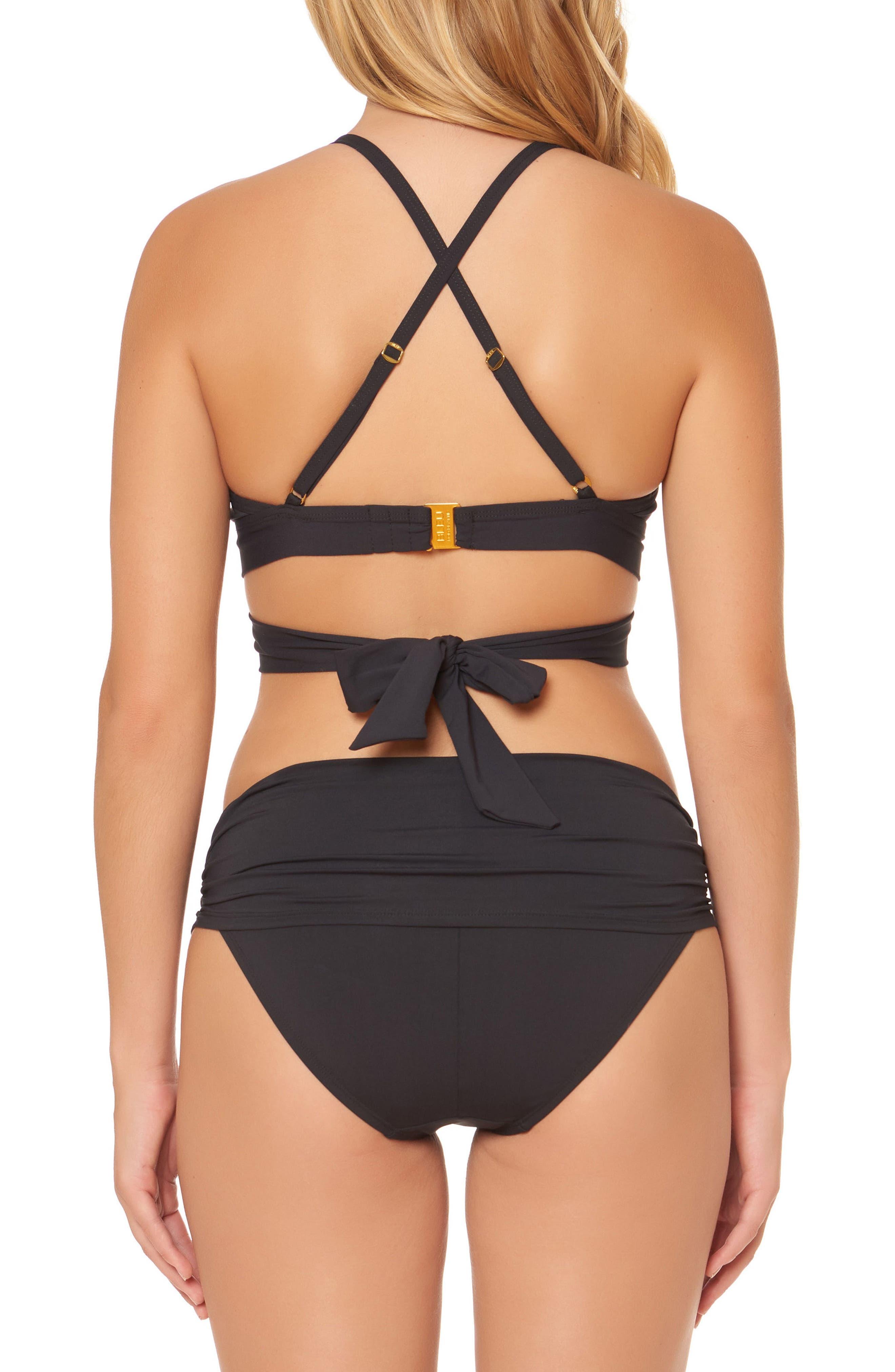 BLEU by Rod Beattie Double Wrap Bikini Top,                             Alternate thumbnail 2, color,                             BLACK