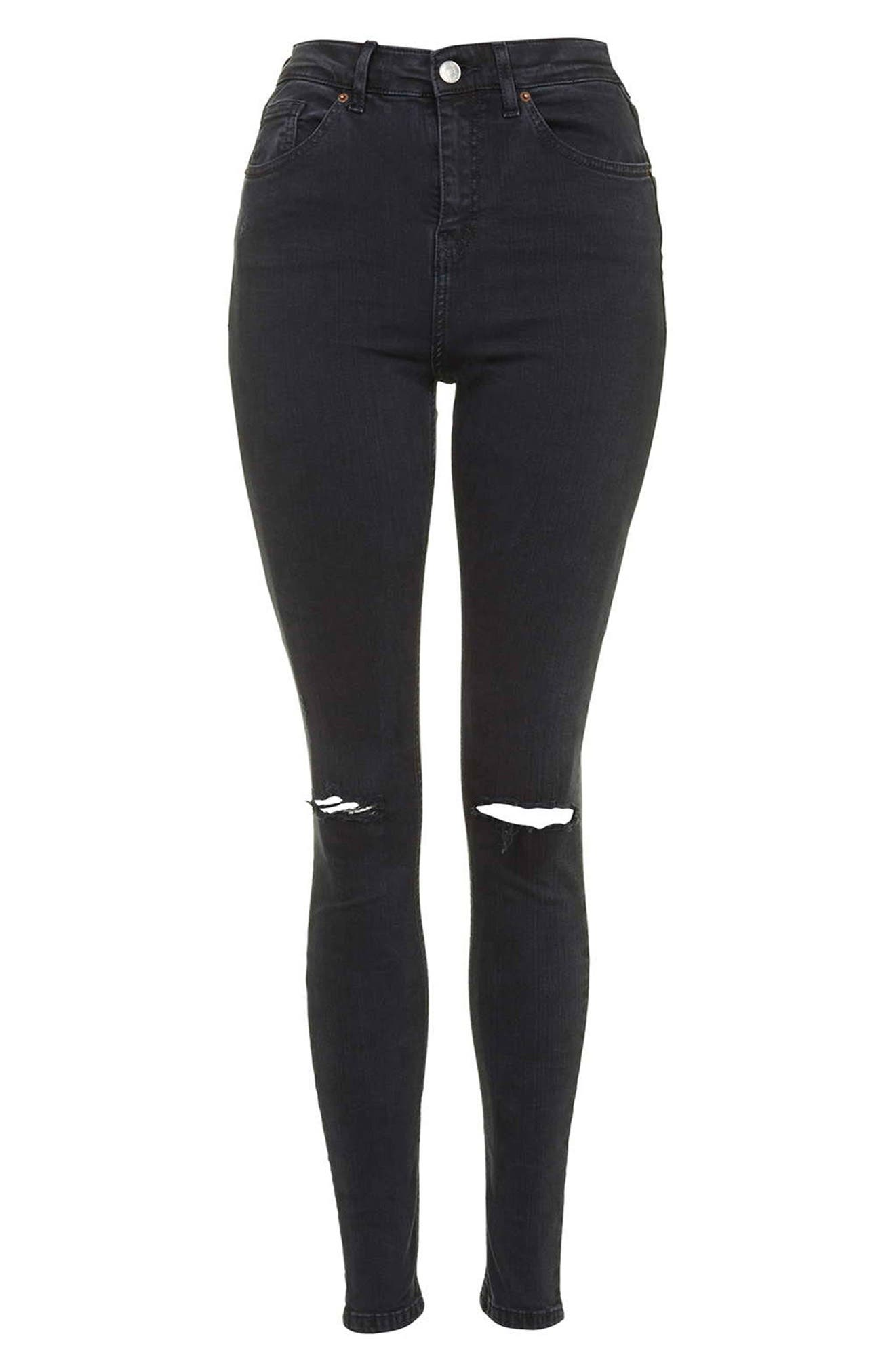TOPSHOP,                             Moto 'Jamie' Ripped Skinny Jeans,                             Alternate thumbnail 2, color,                             001