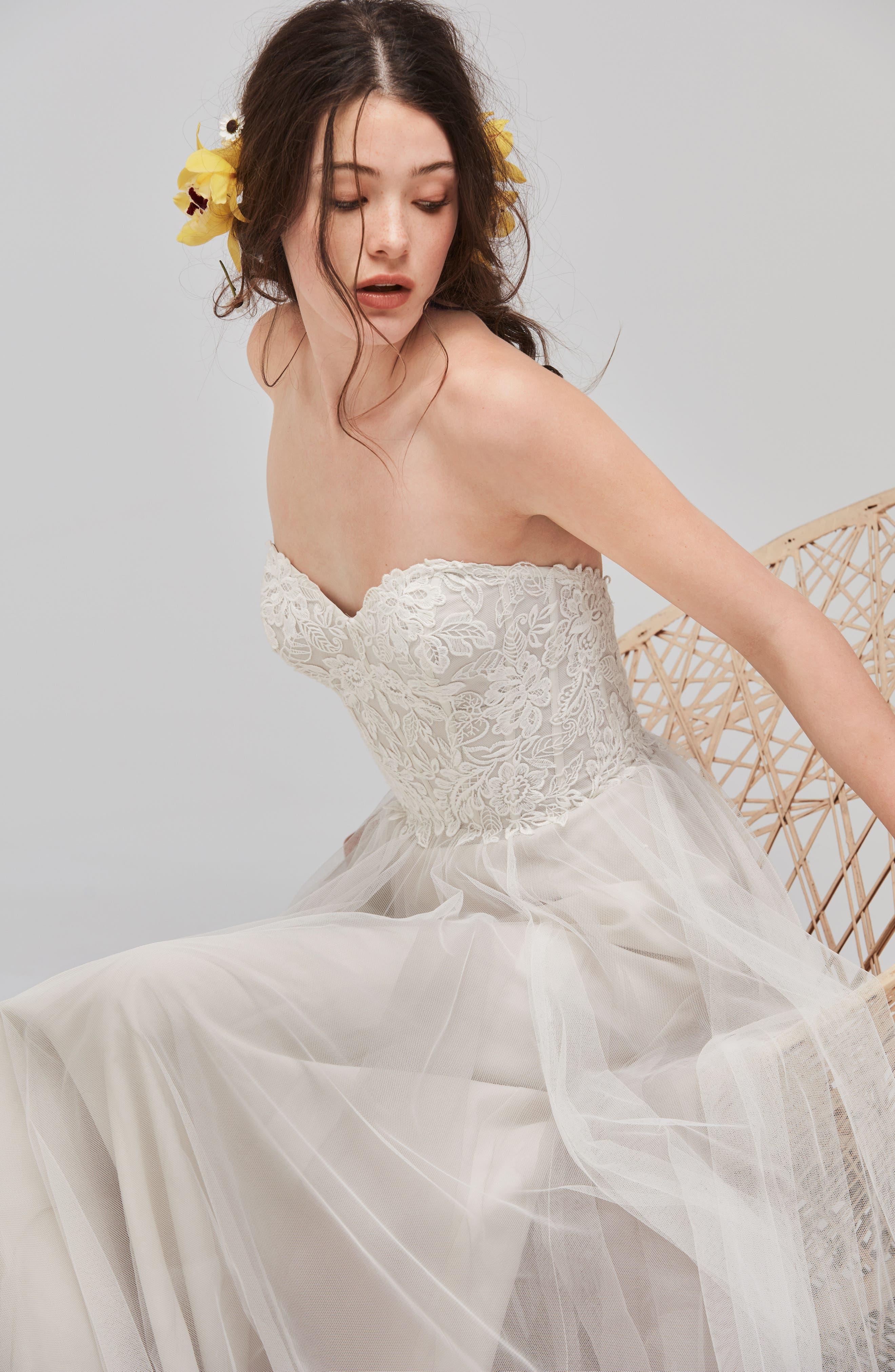 Mariposa Strapless Appliqué Net & Tulle Gown,                             Alternate thumbnail 3, color,                             QUARTZ
