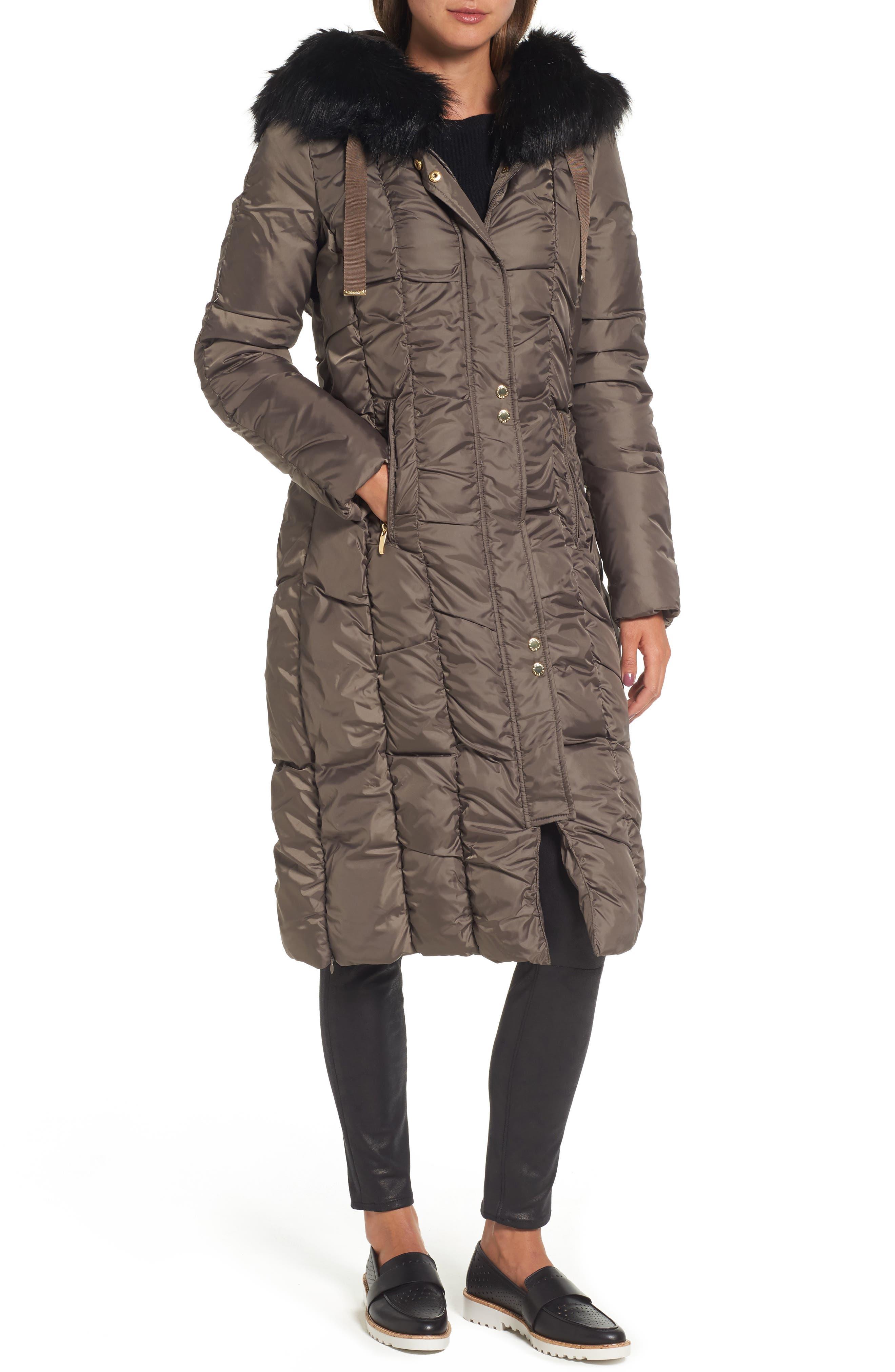 Long Faux Fur Trim Coat,                             Main thumbnail 2, color,