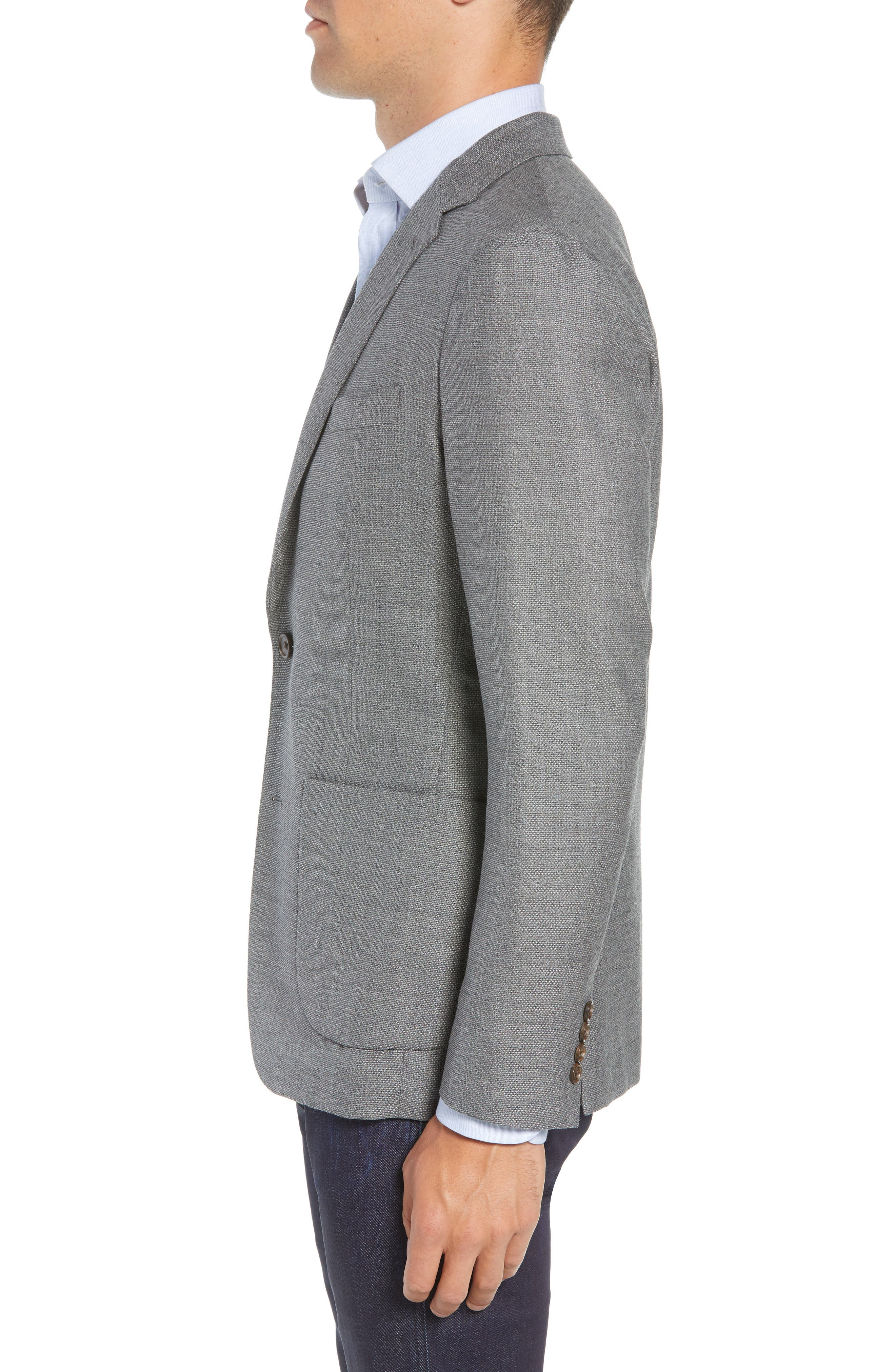 Trim Fit Wool Blazer,                             Alternate thumbnail 3, color,                             MID GREY