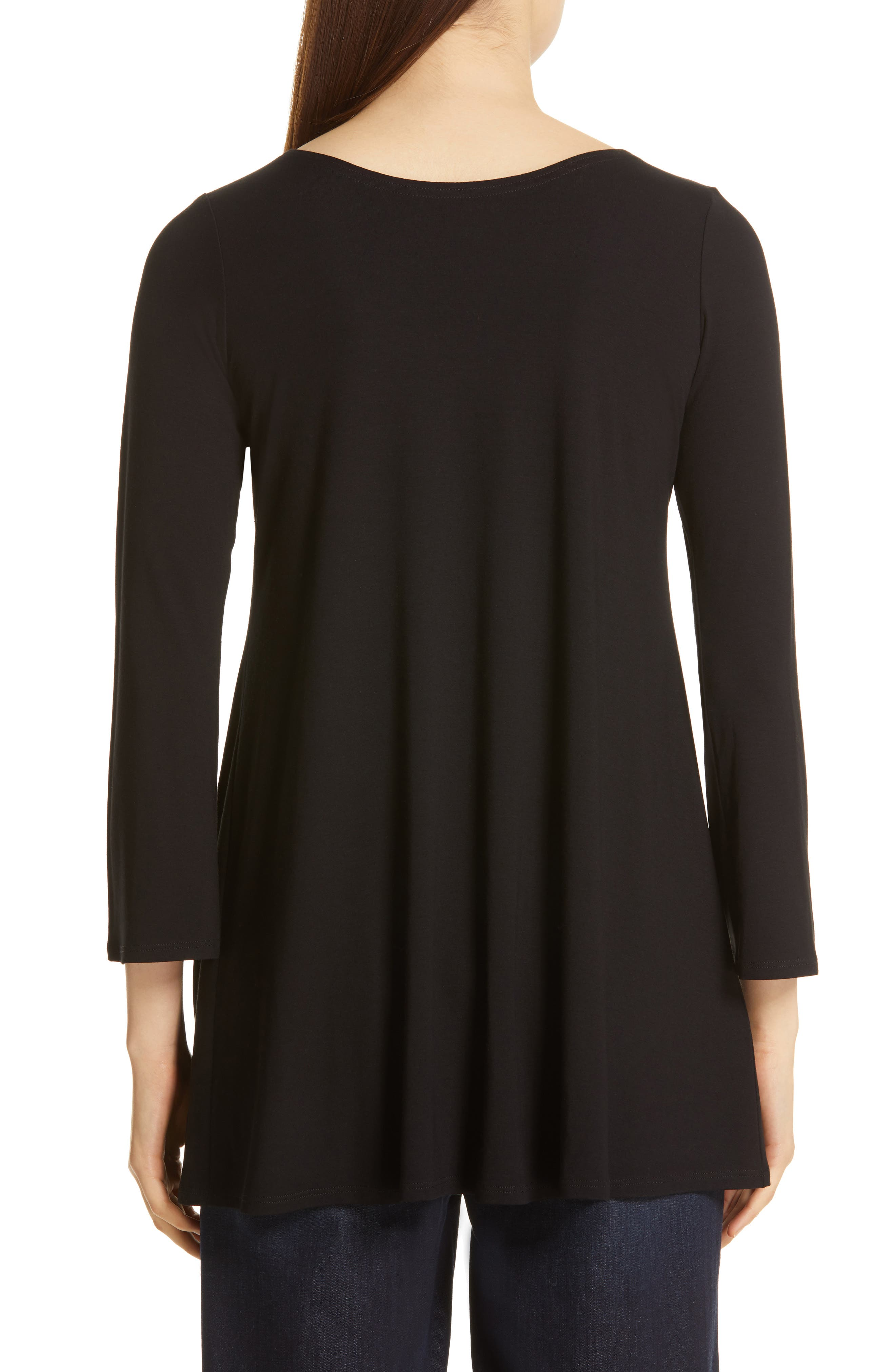 EILEEN FISHER, Jewel Neck Tunic Top, Alternate thumbnail 2, color, 001