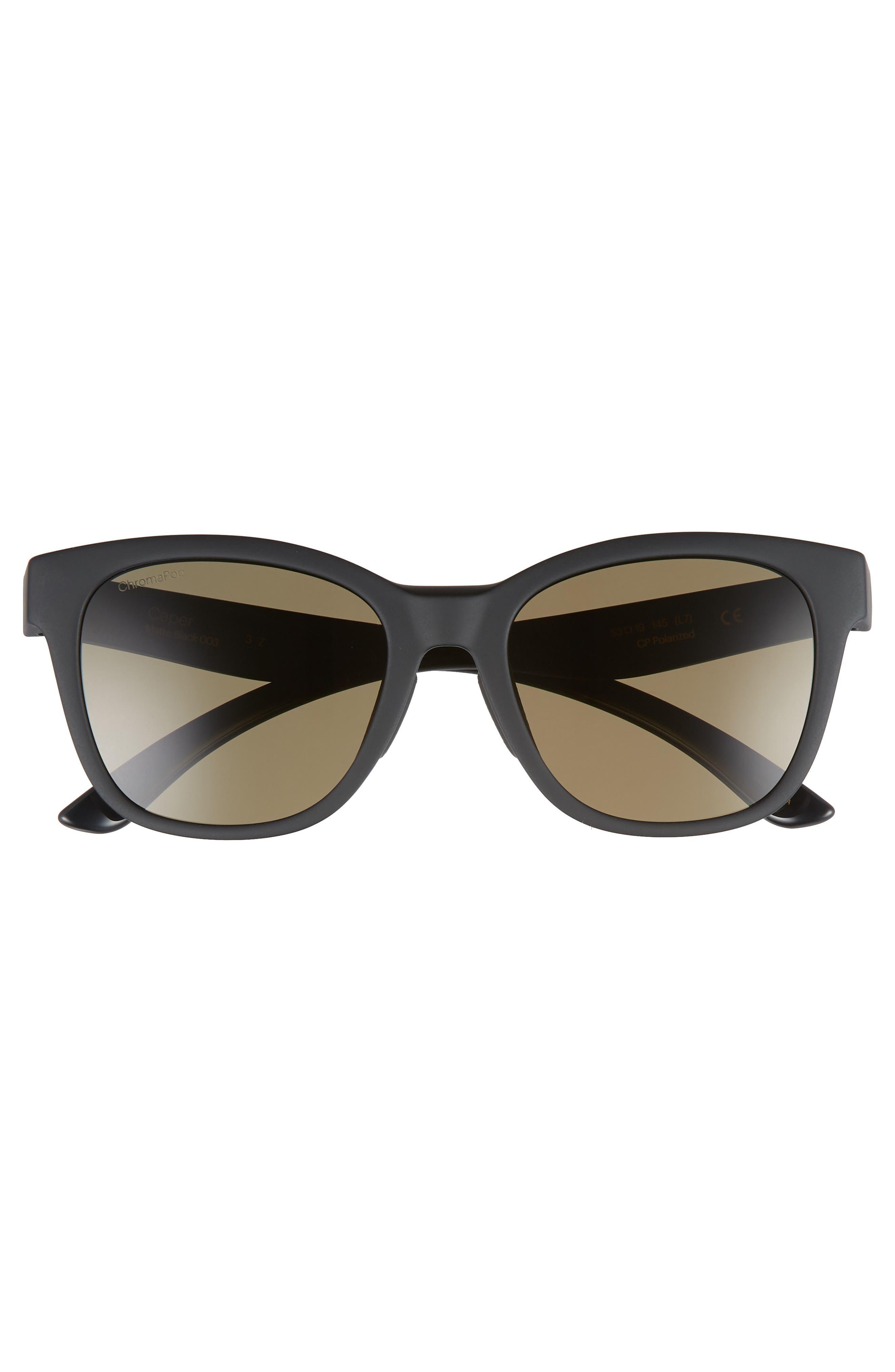 SMITH,                             Caper 53mm ChromaPop<sup>™</sup> Square Sunglasses,                             Alternate thumbnail 3, color,                             MATTE BLACK