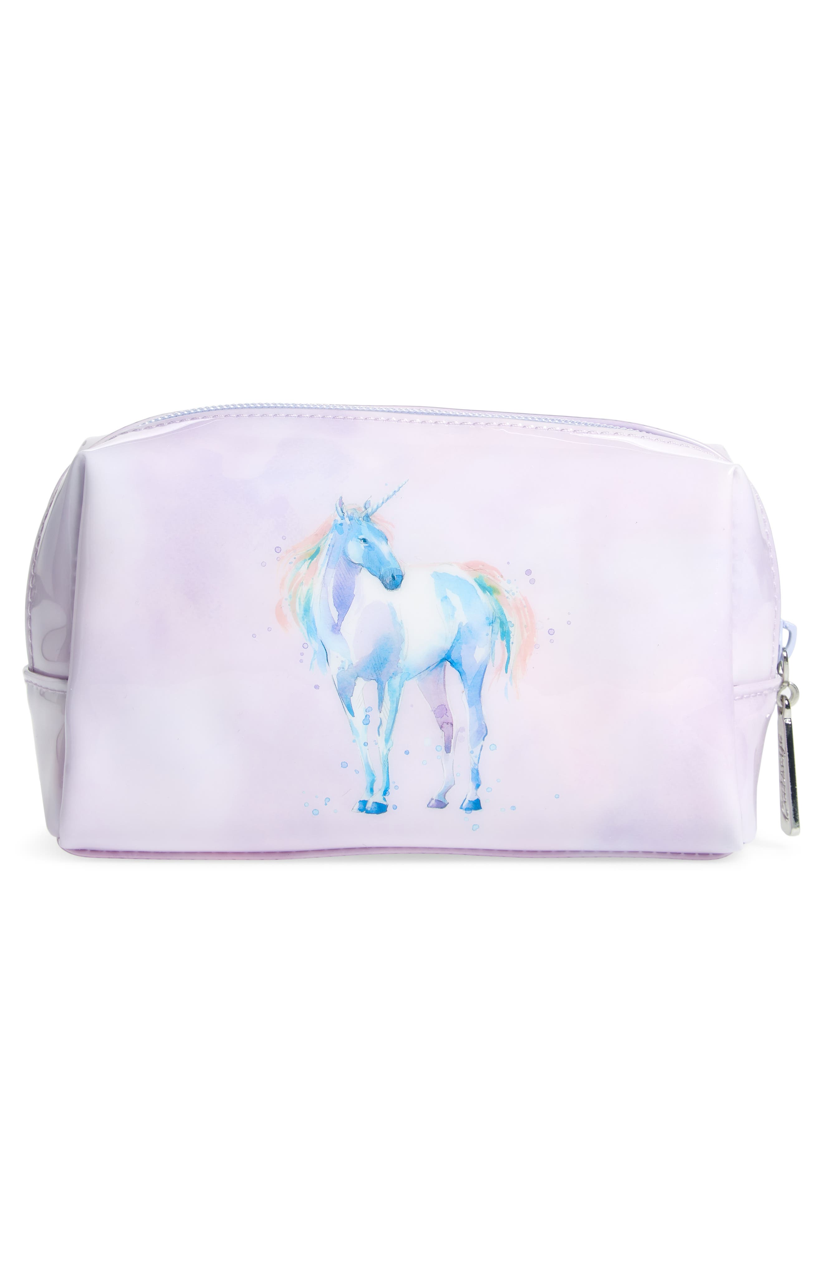Watercolor Unicorn Cosmetics Case,                             Alternate thumbnail 2, color,                             530