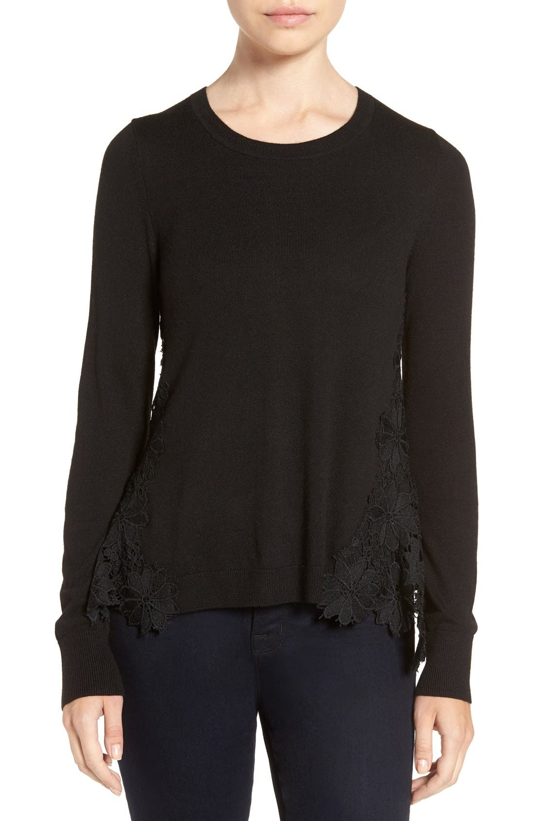 Lace Back Sweater,                             Main thumbnail 1, color,                             001