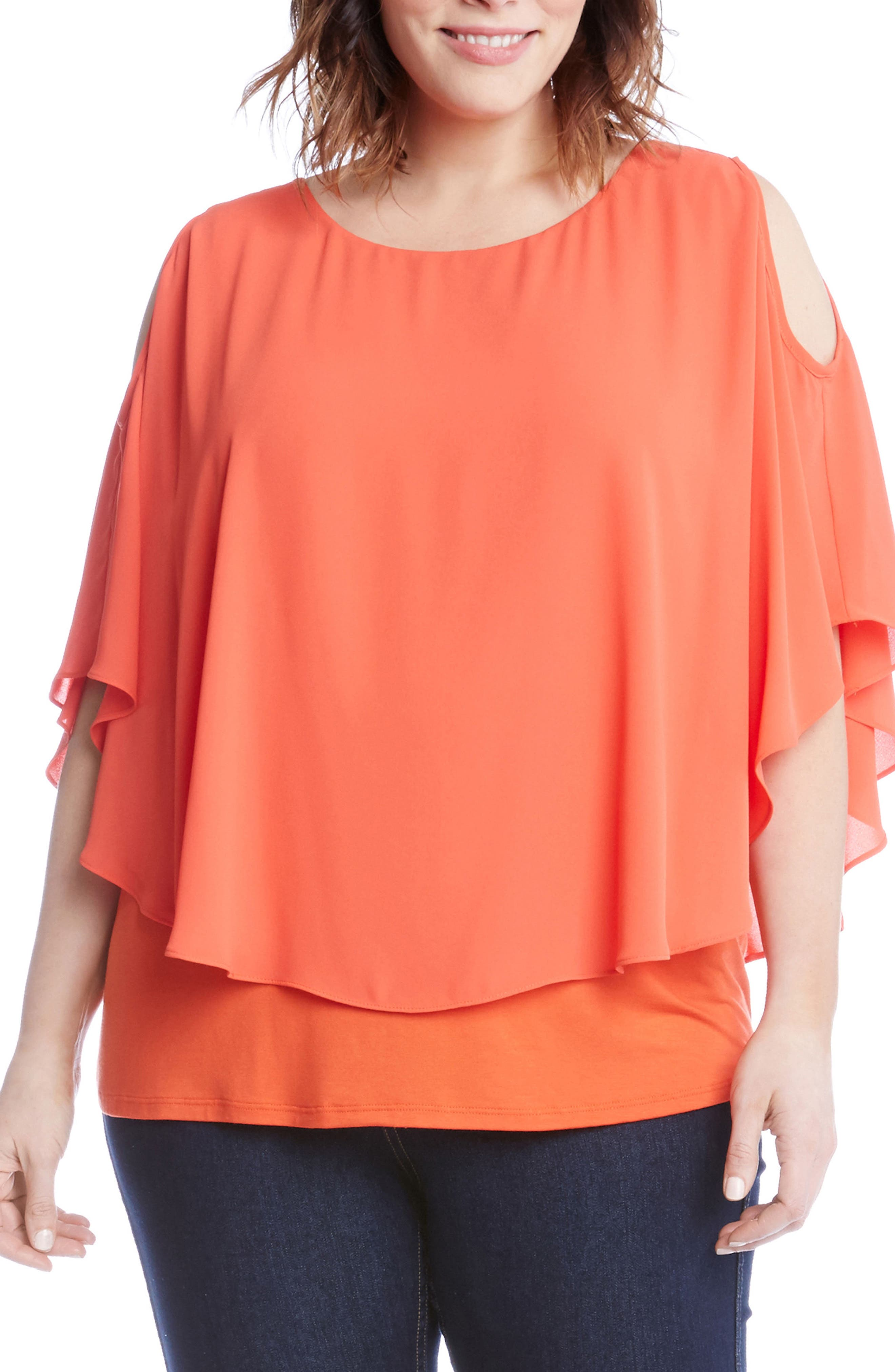 Layered Cold Shoulder Top,                         Main,                         color, 820