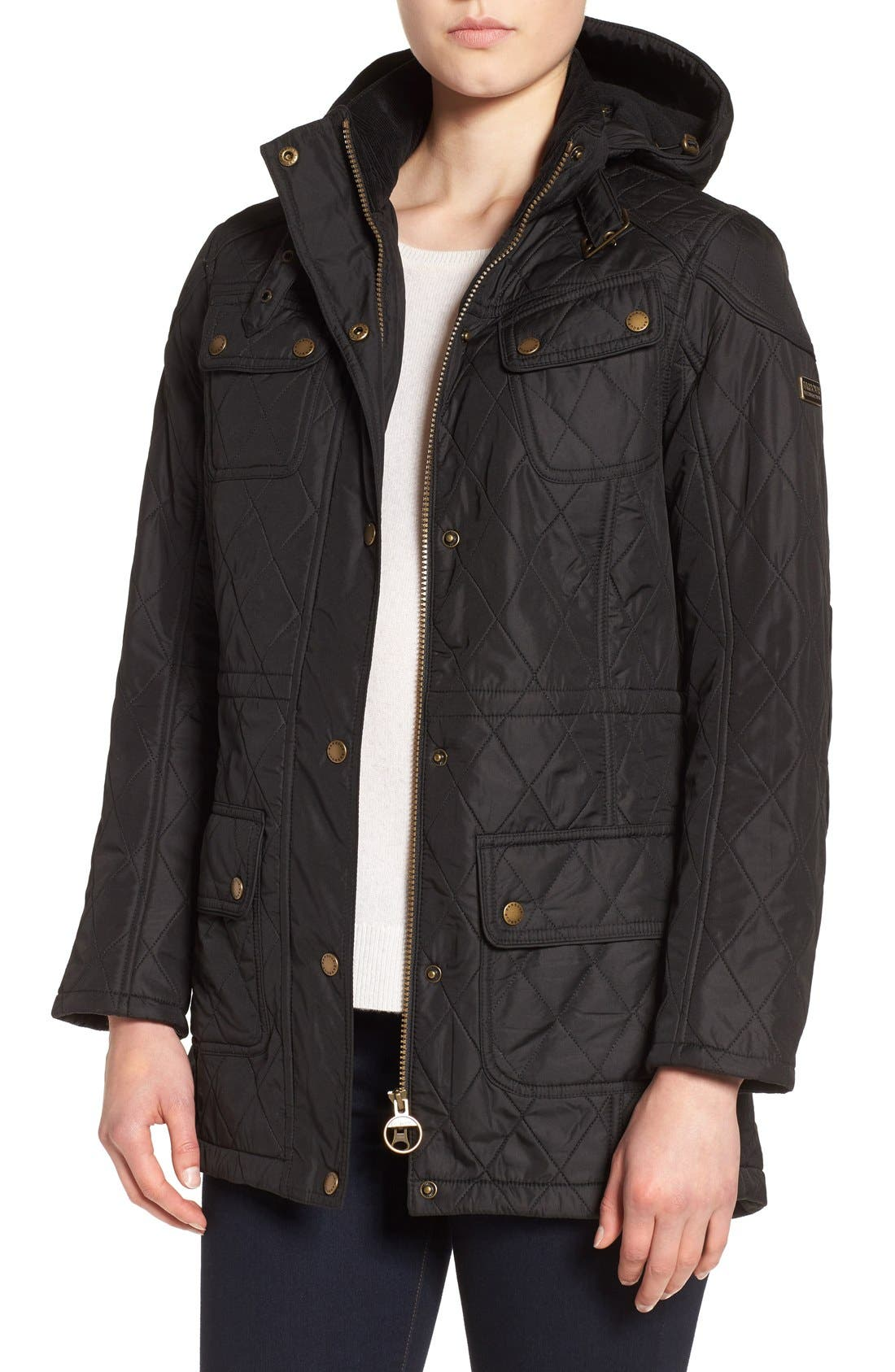 'Arrow' Quilted Anorak,                             Main thumbnail 1, color,                             BLACK