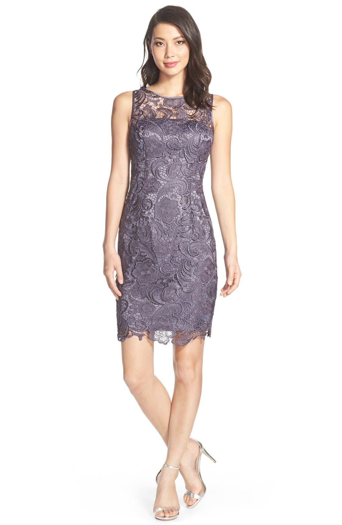 Illusion Bodice Lace Sheath Dress,                             Alternate thumbnail 34, color,