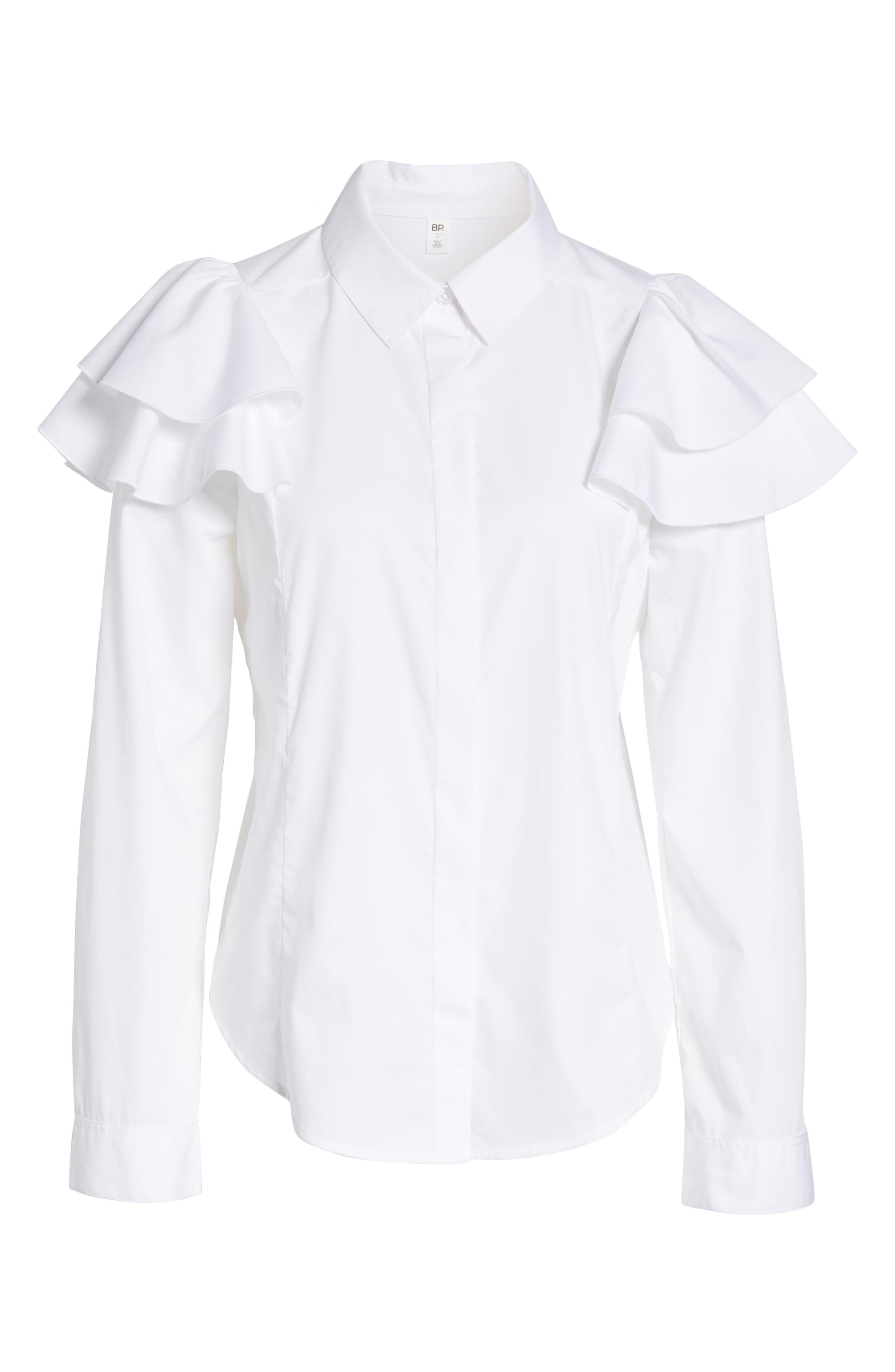 Ruffle Shoulder Shirt,                             Alternate thumbnail 6, color,                             100