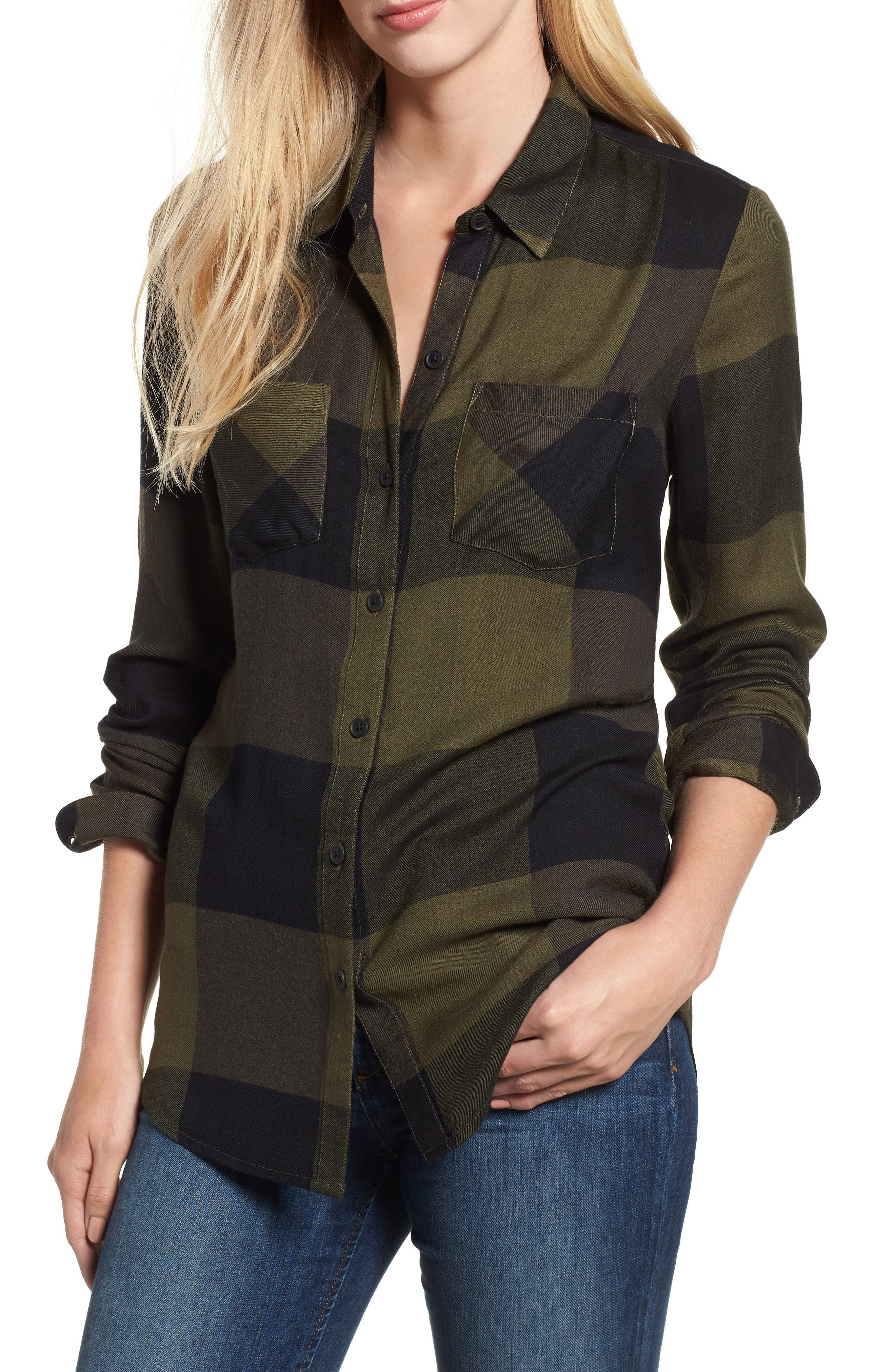 Plaid Button Down Shirt,                         Main,                         color, OLIVE MULTI