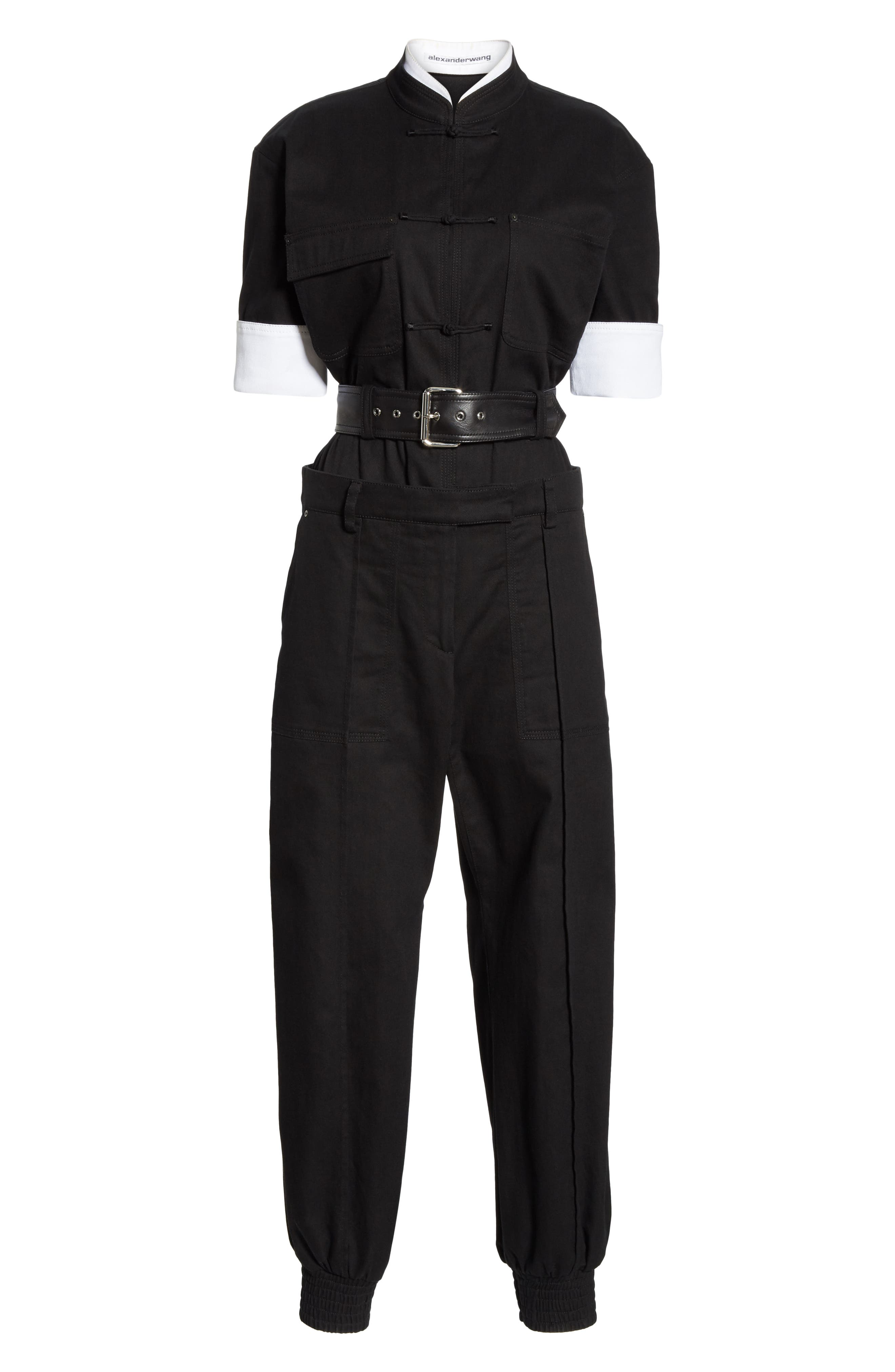Layered Utility Jumpsuit,                             Alternate thumbnail 7, color,                             BLACK