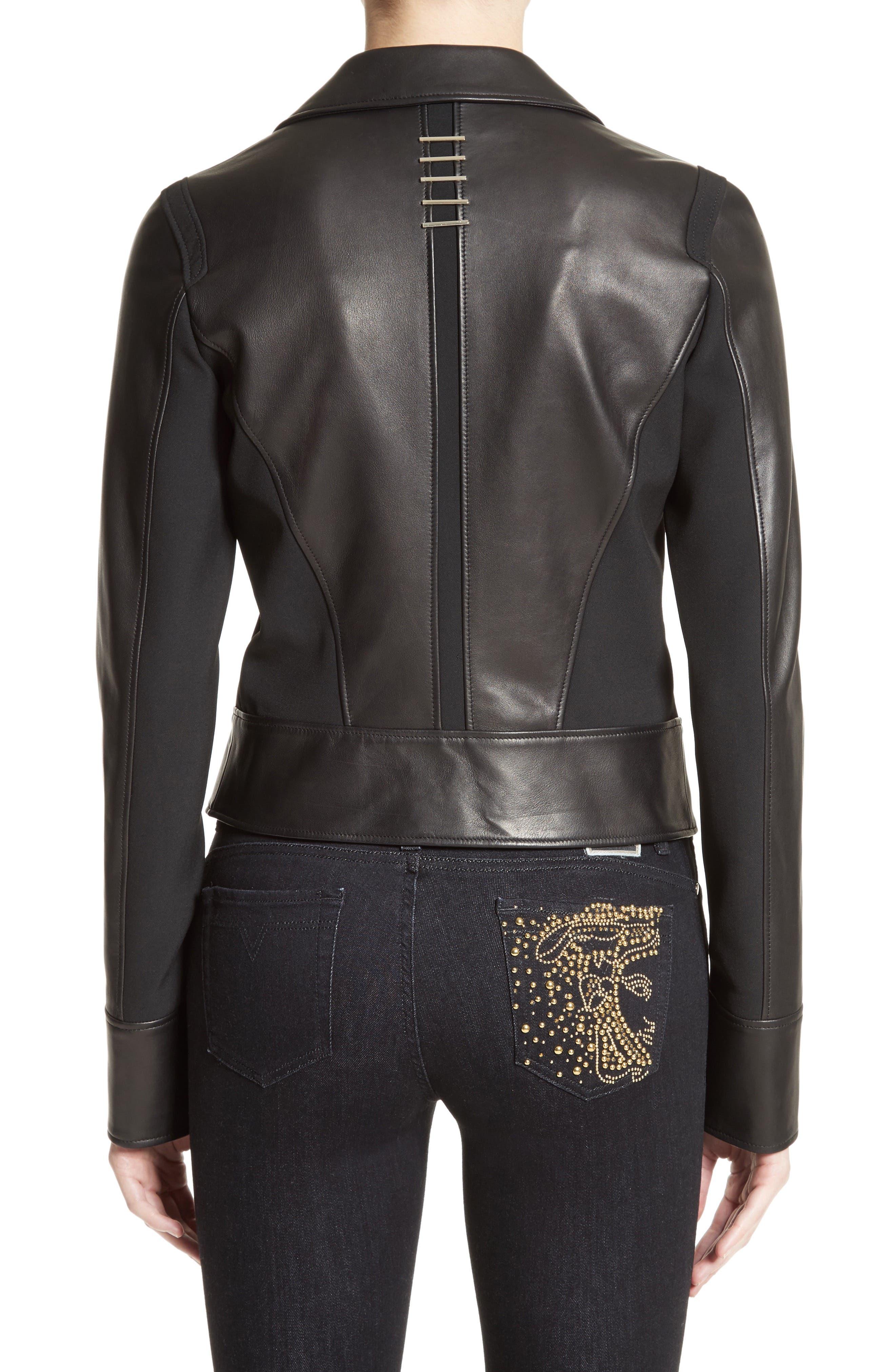 Asymmetrical Zip Leather Jacket,                             Alternate thumbnail 2, color,                             001