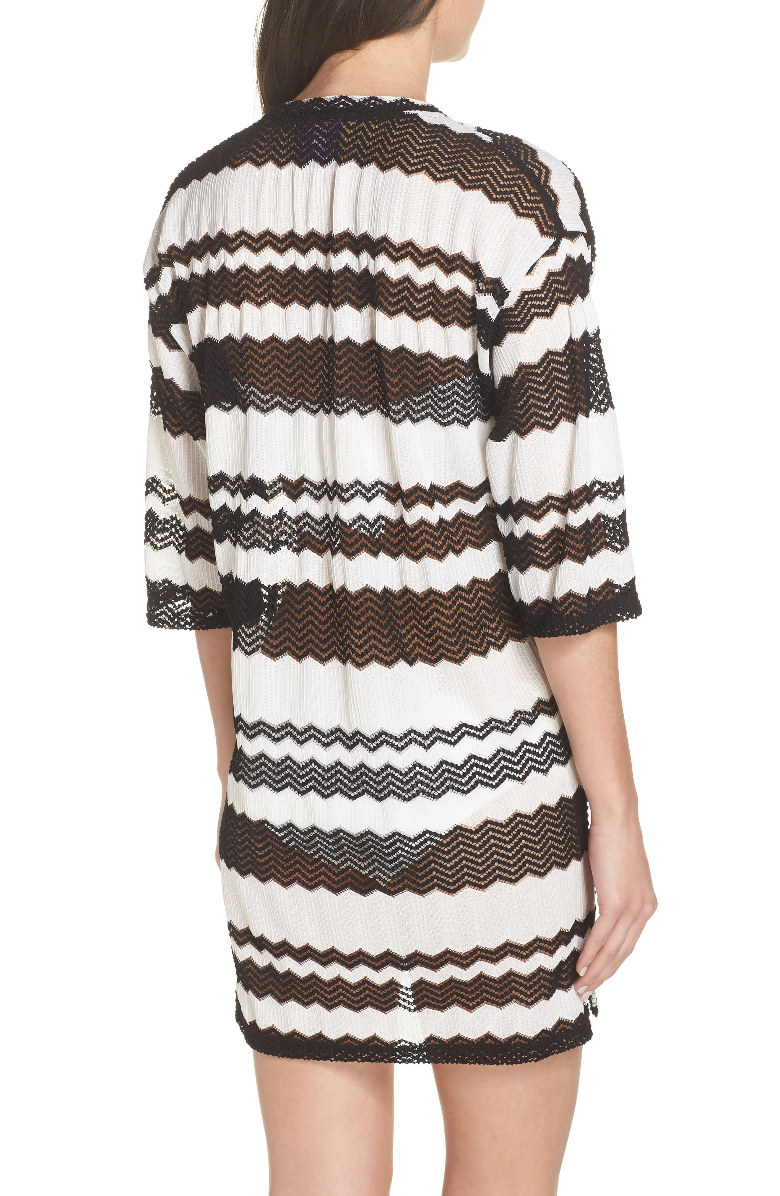 V-Neck Cover-Up Tunic,                             Alternate thumbnail 2, color,                             BLACK AND WHITE
