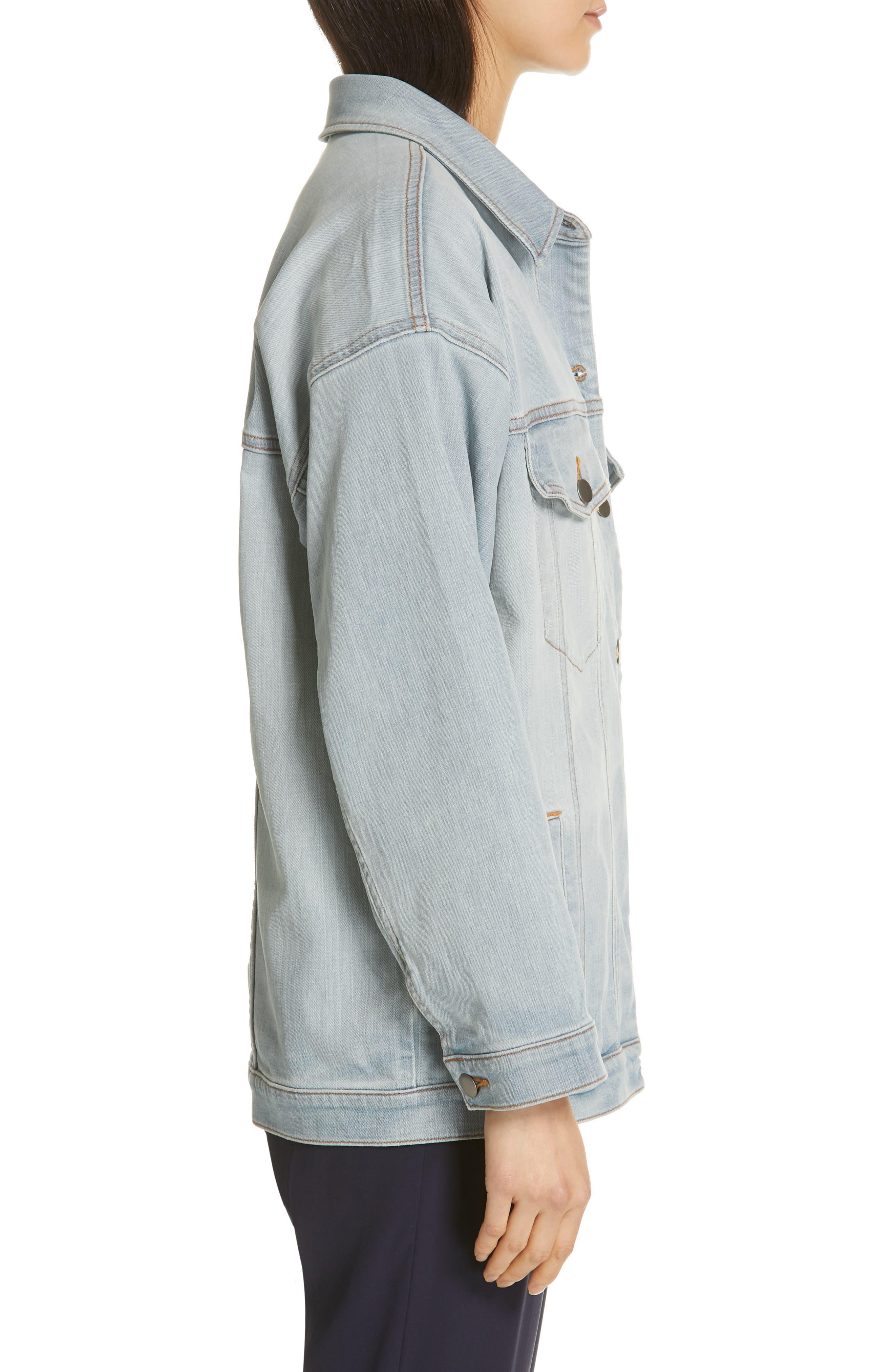 Oversize Stretch Organic Cotton Denim Jacket,                             Alternate thumbnail 3, color,                             ICE BLUE