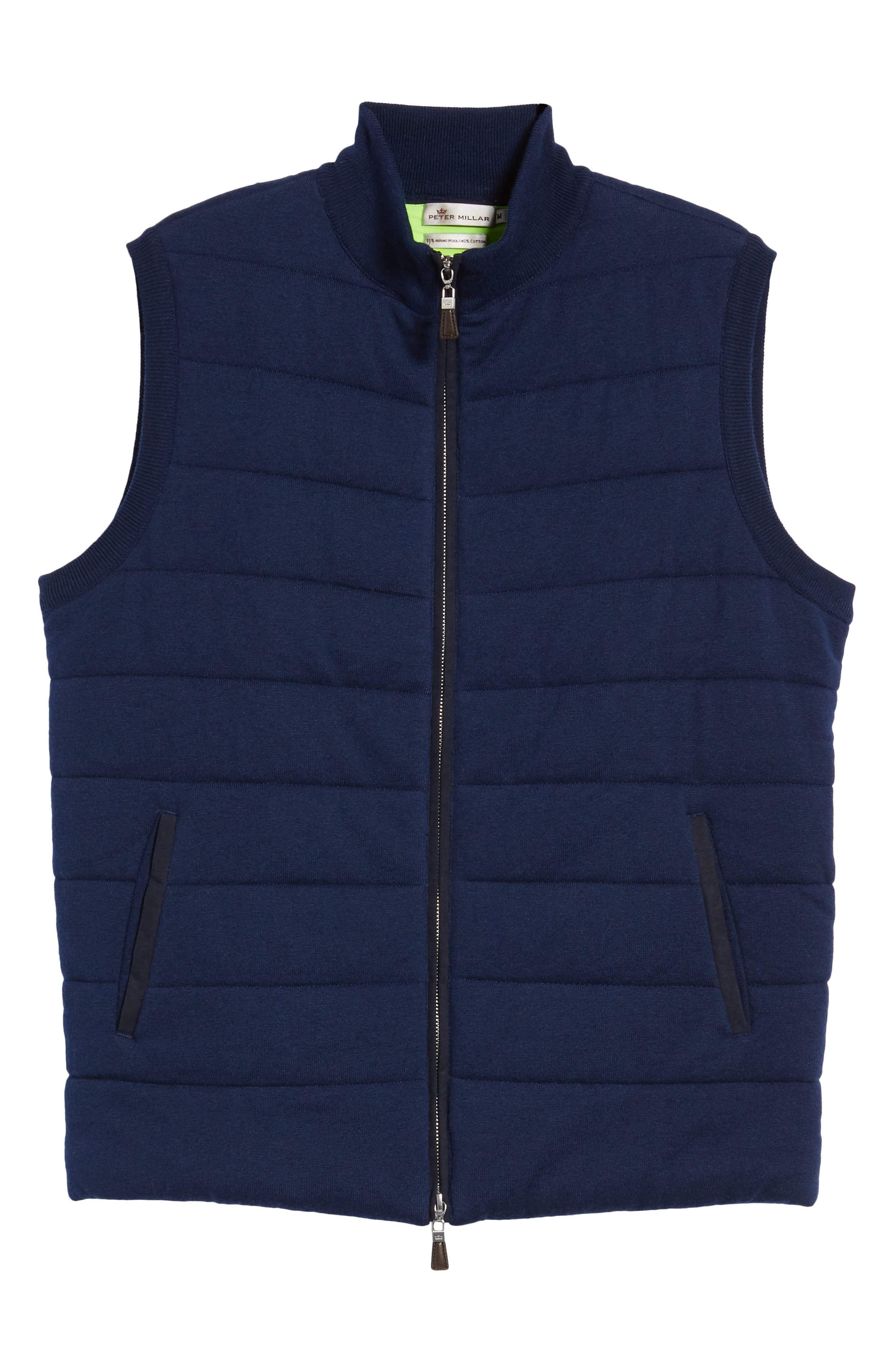 Quilted Wool & Cotton Full Zip Vest,                             Alternate thumbnail 12, color,