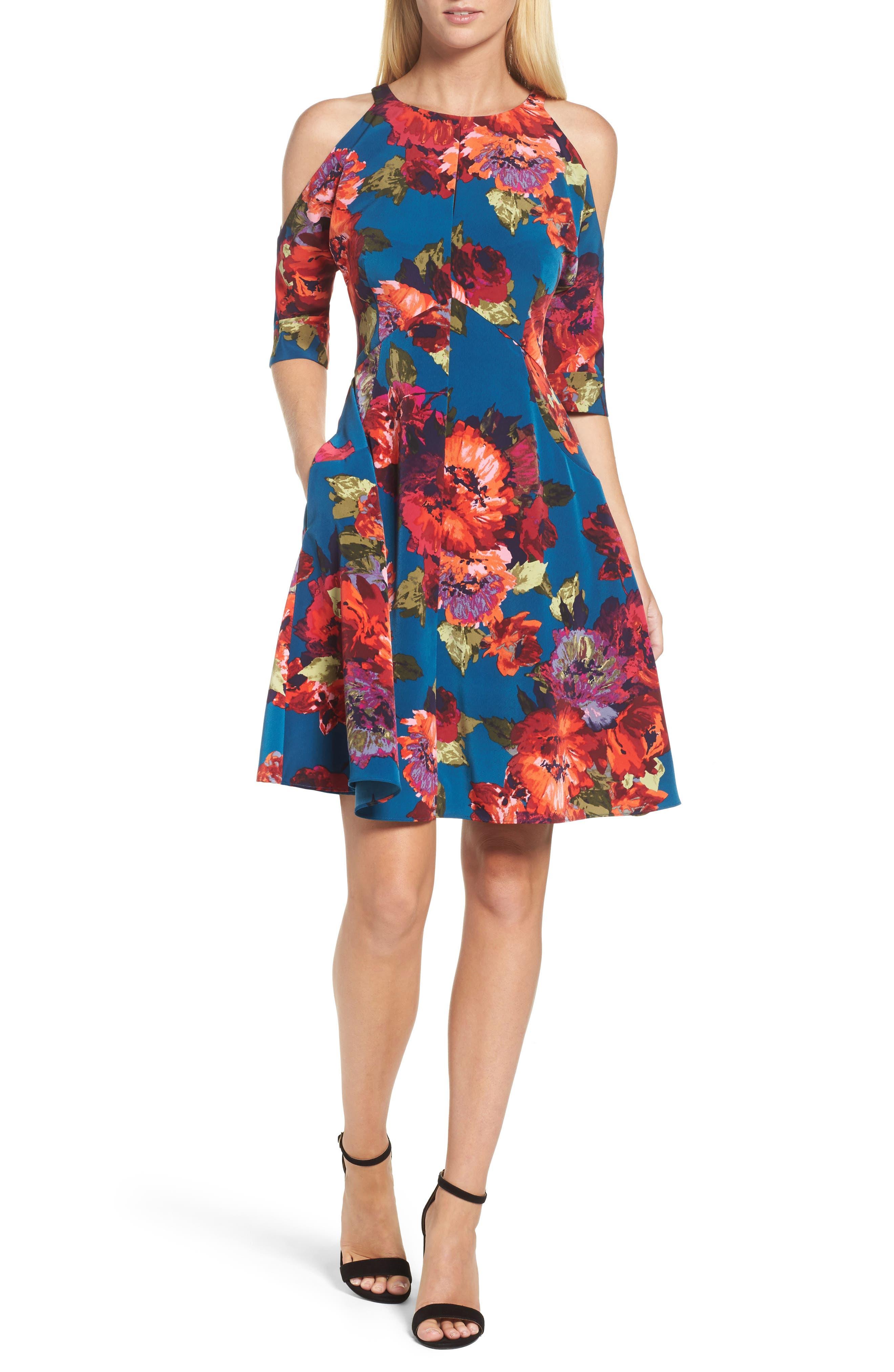 Cold Shoulder Fit & Flare Dress,                             Main thumbnail 1, color,                             490