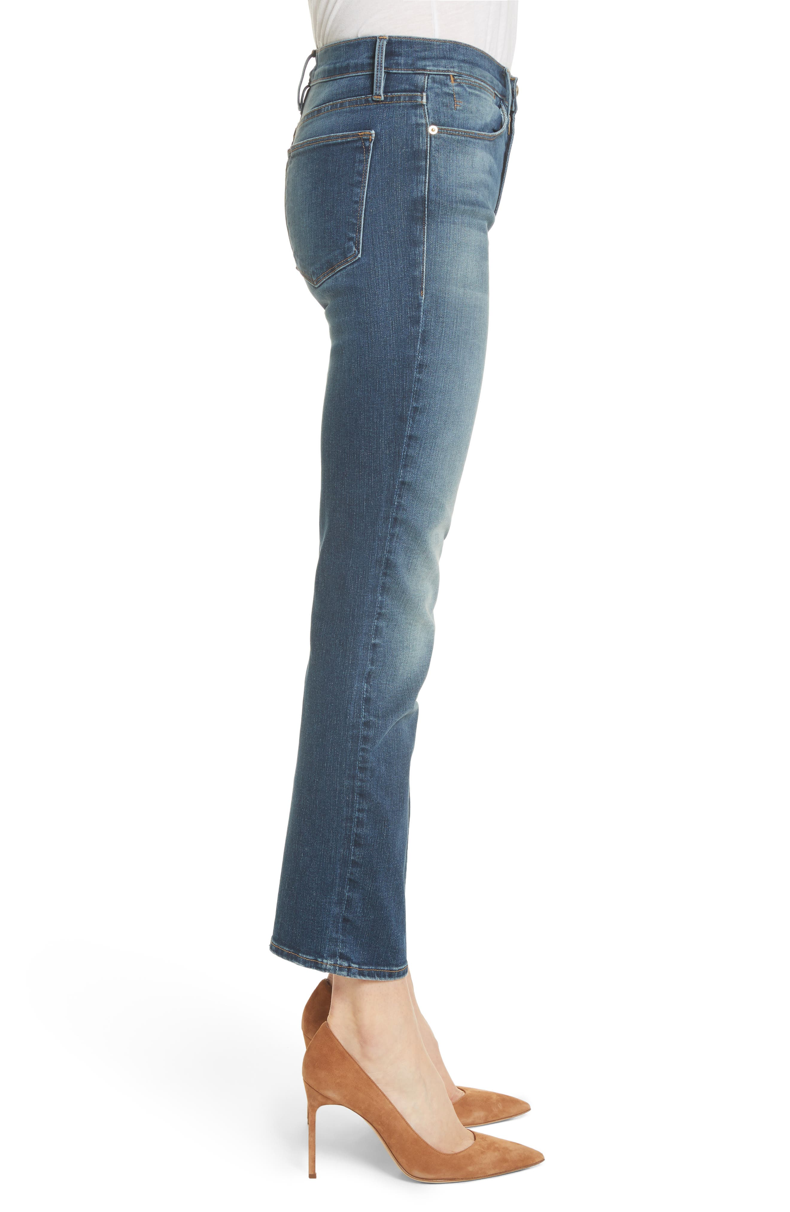 Le High Ankle Straight Leg Jeans,                             Alternate thumbnail 3, color,                             402