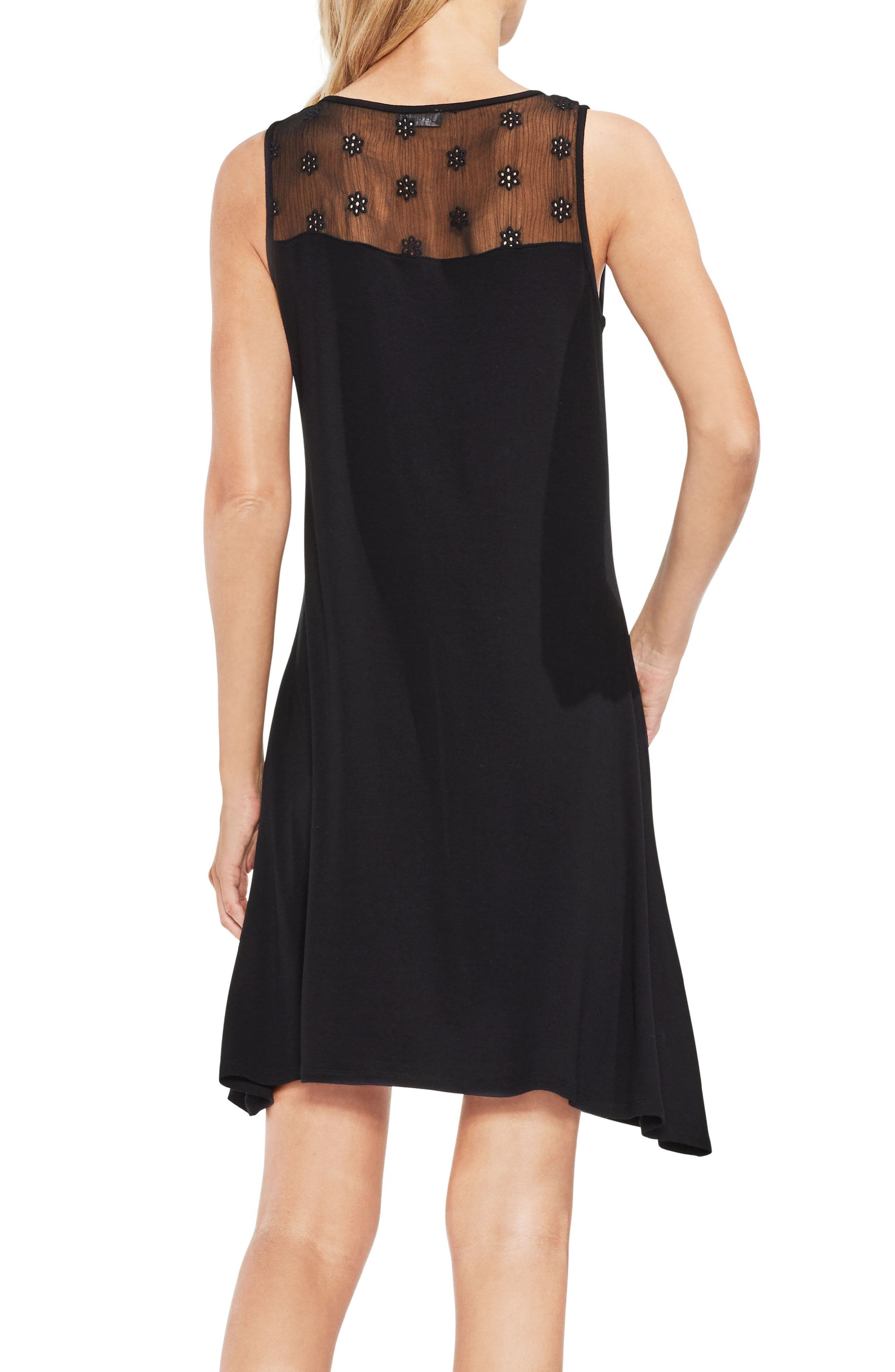 VINCE CAMUTO,                             Eyelet Panel Dress,                             Alternate thumbnail 2, color,                             001