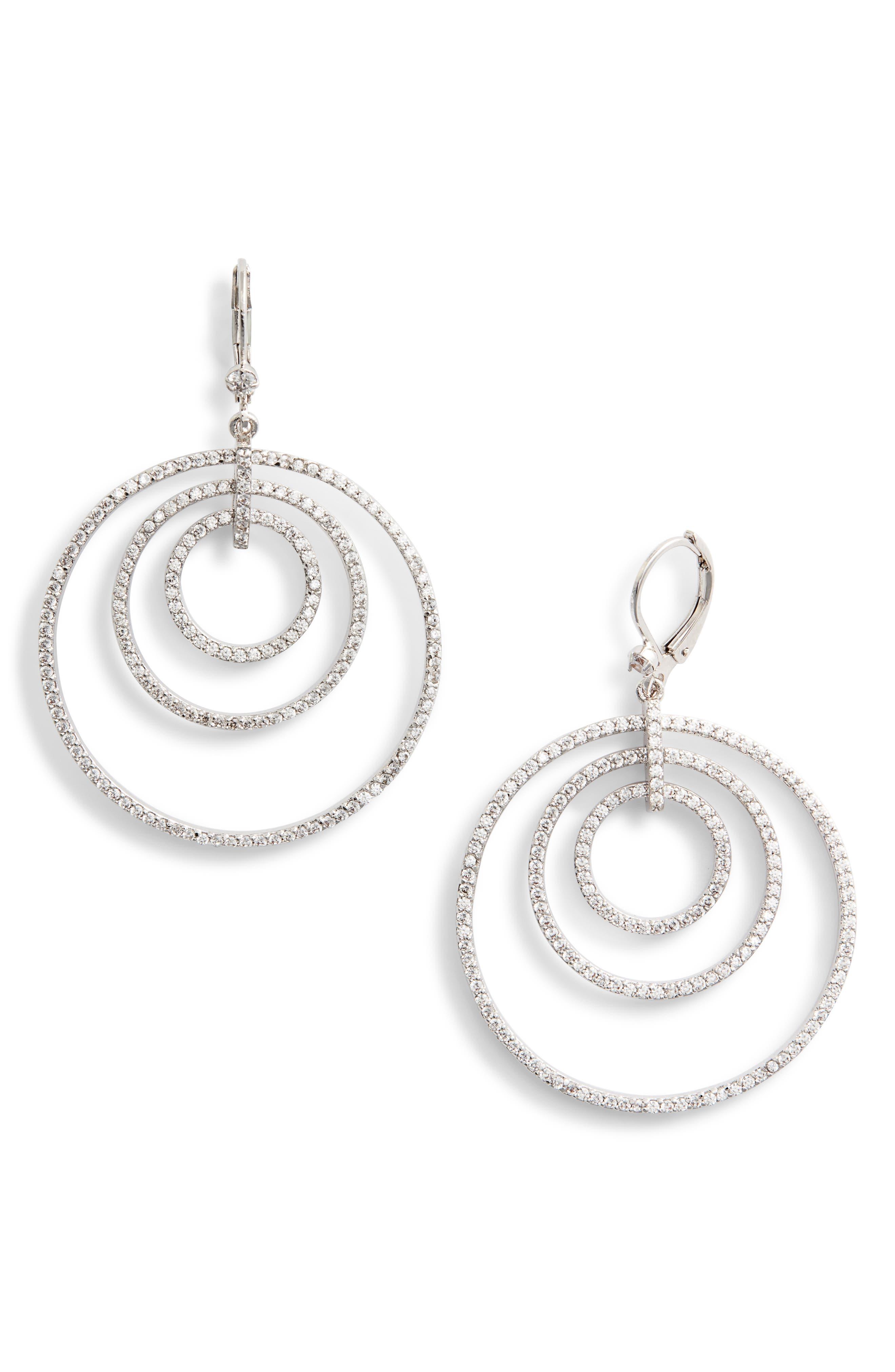 Orbital Drop Earrings,                         Main,                         color, WHITE/ SILVER