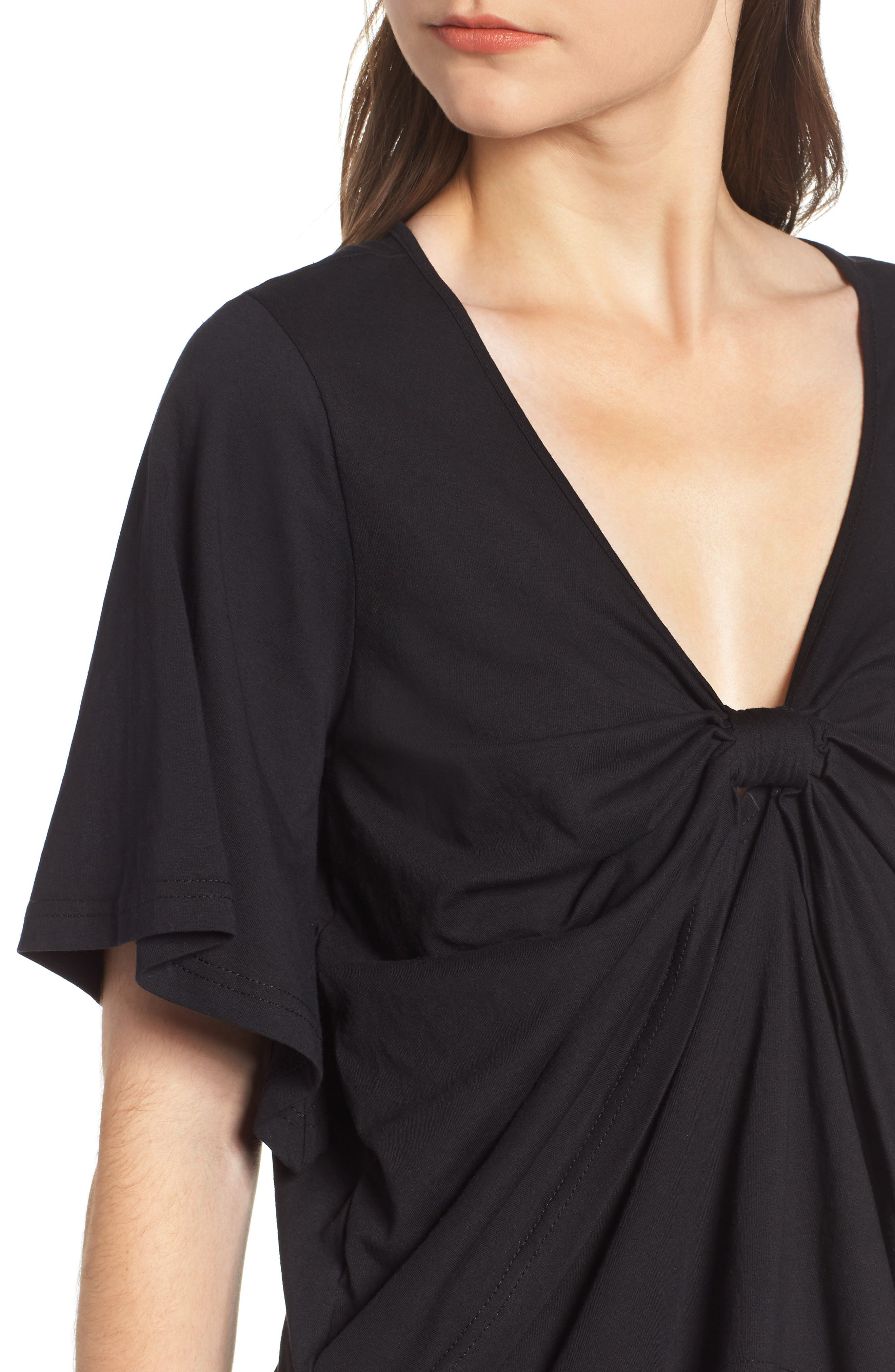 Knot Front Flutter Sleeve Tee,                             Alternate thumbnail 4, color,                             001