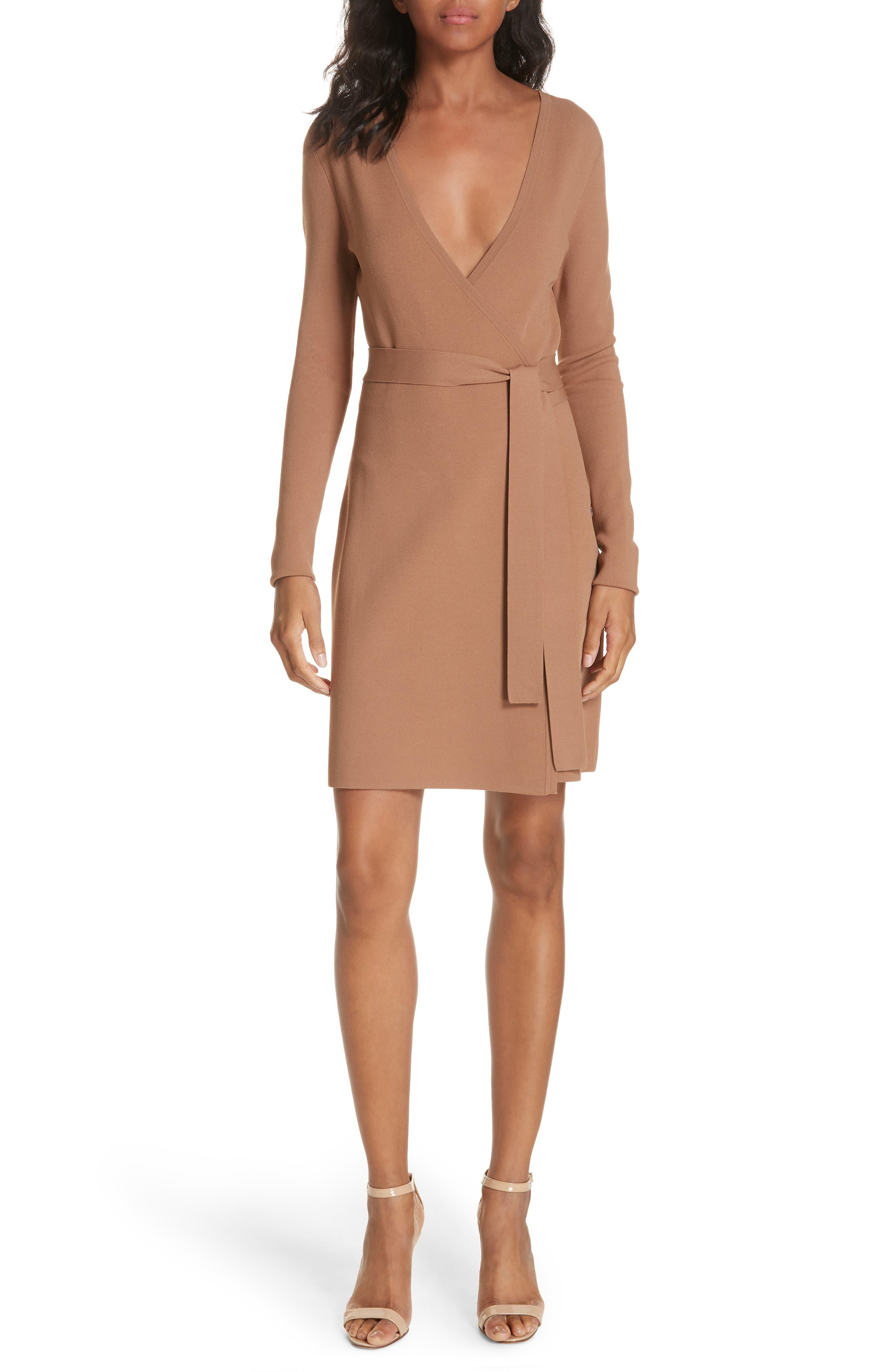 Diane von Furstenberg Knit Wrap Dress,                             Main thumbnail 1, color,                             WALNUT