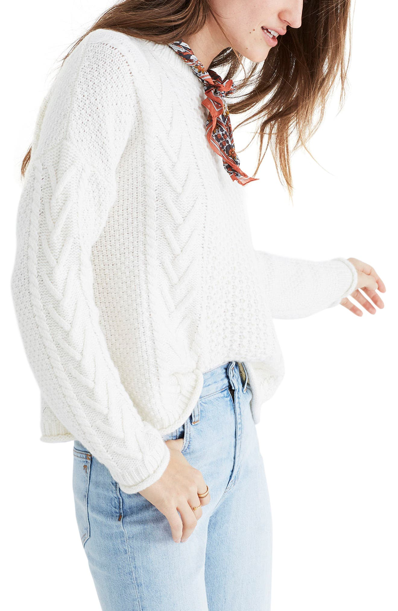 Cable Knit Pullover Sweater,                             Alternate thumbnail 4, color,