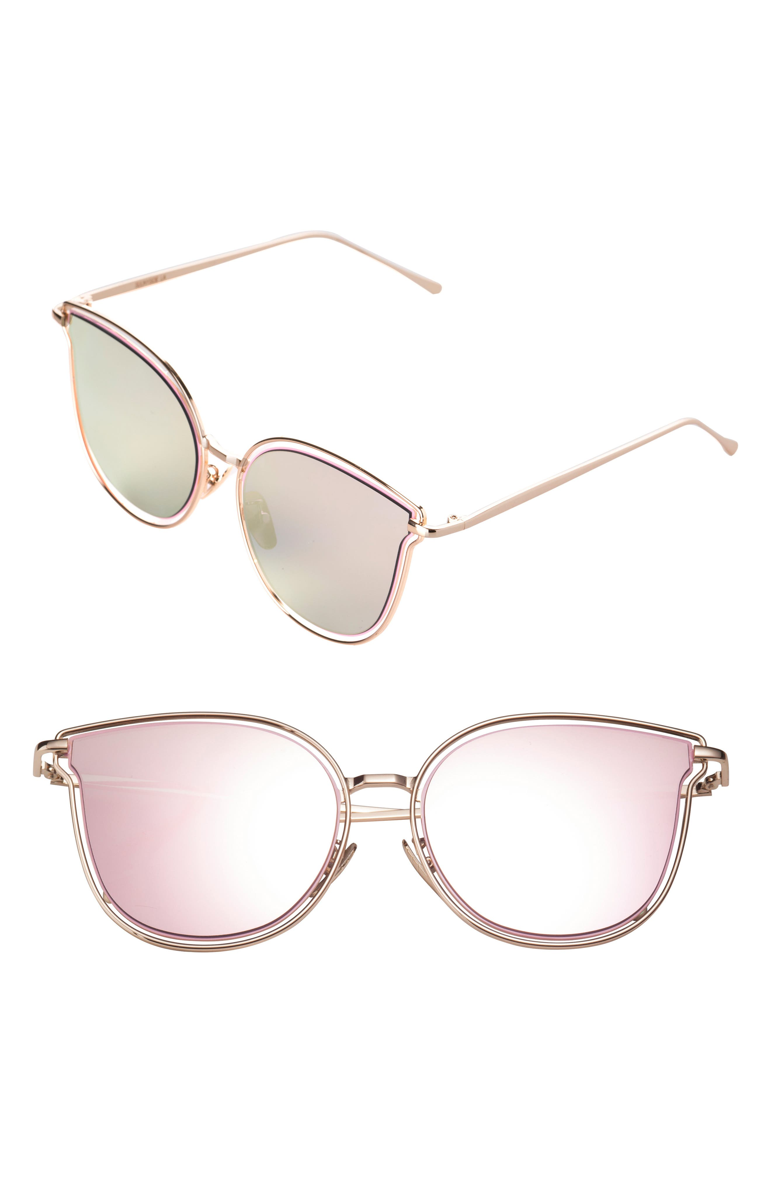54mm Mirrored Cat Eye Sunglasses,                             Main thumbnail 1, color,                             PINK/ GOLD